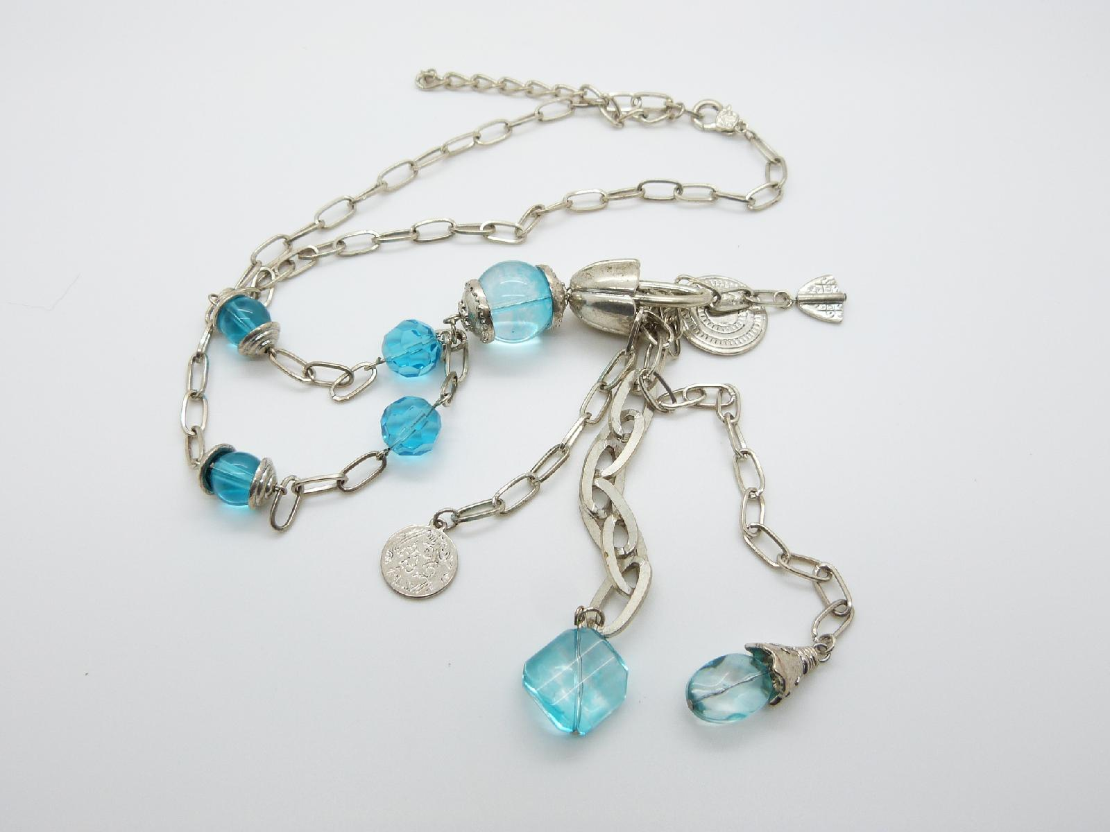Long Silvertone Chain Link Necklace with Blue Glass Beads and Coin Charms