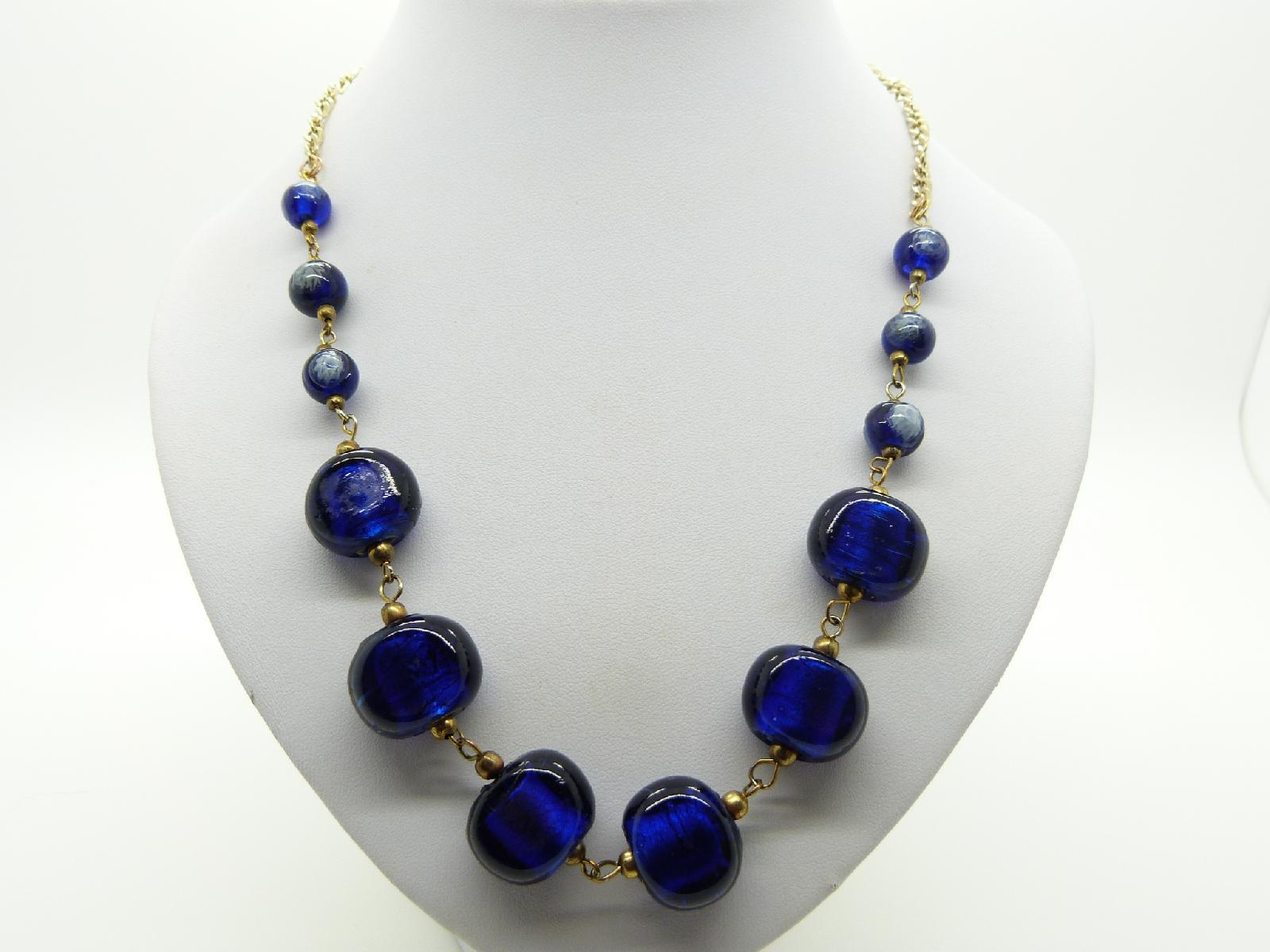£10.00 - Pretty and Unusual Violet Blue Glass Bead Goldtone Chain Necklace