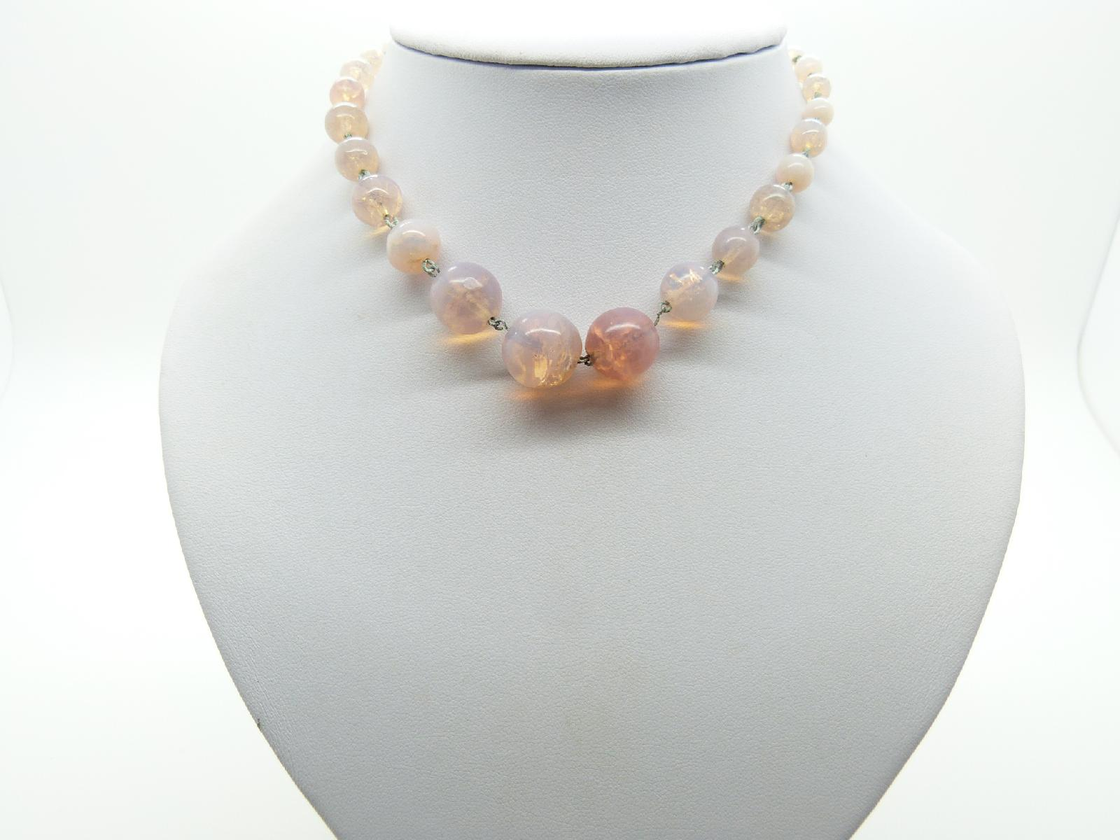 £32.00 - Vintage 30s Pretty Art Deco Opaline Pink Glass Bead Necklace