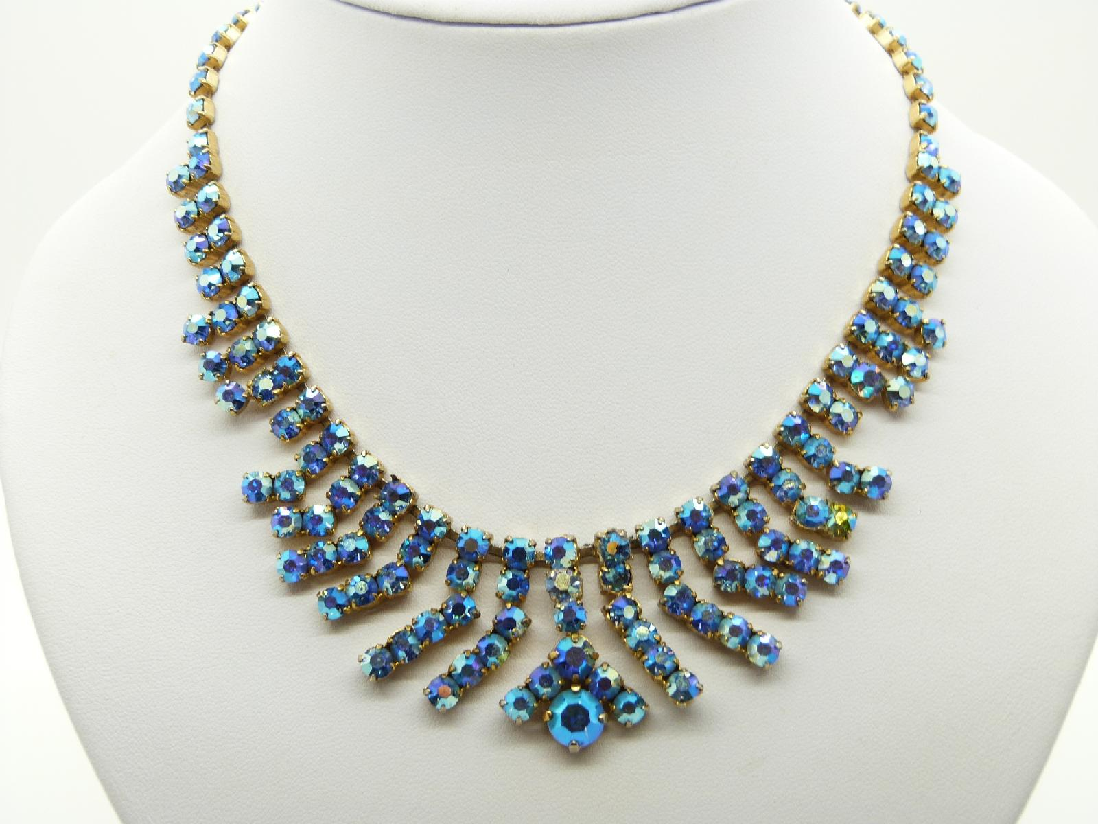 Vintage 50s Amazing AB Blue Sparkling Diamante Tassel Drop Necklace