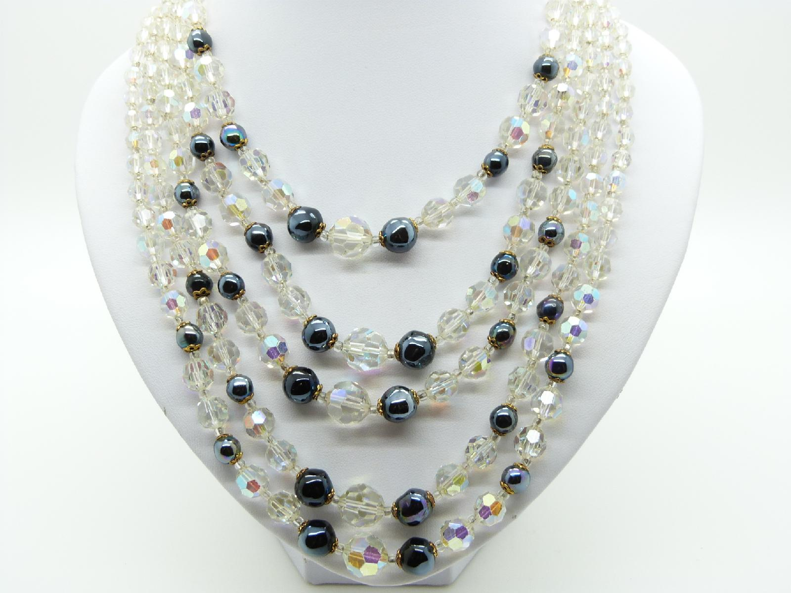 £75.00 - Vintage 50s Breathtaking 5 Row AB Crystal Glass and Hematite Bead Necklace