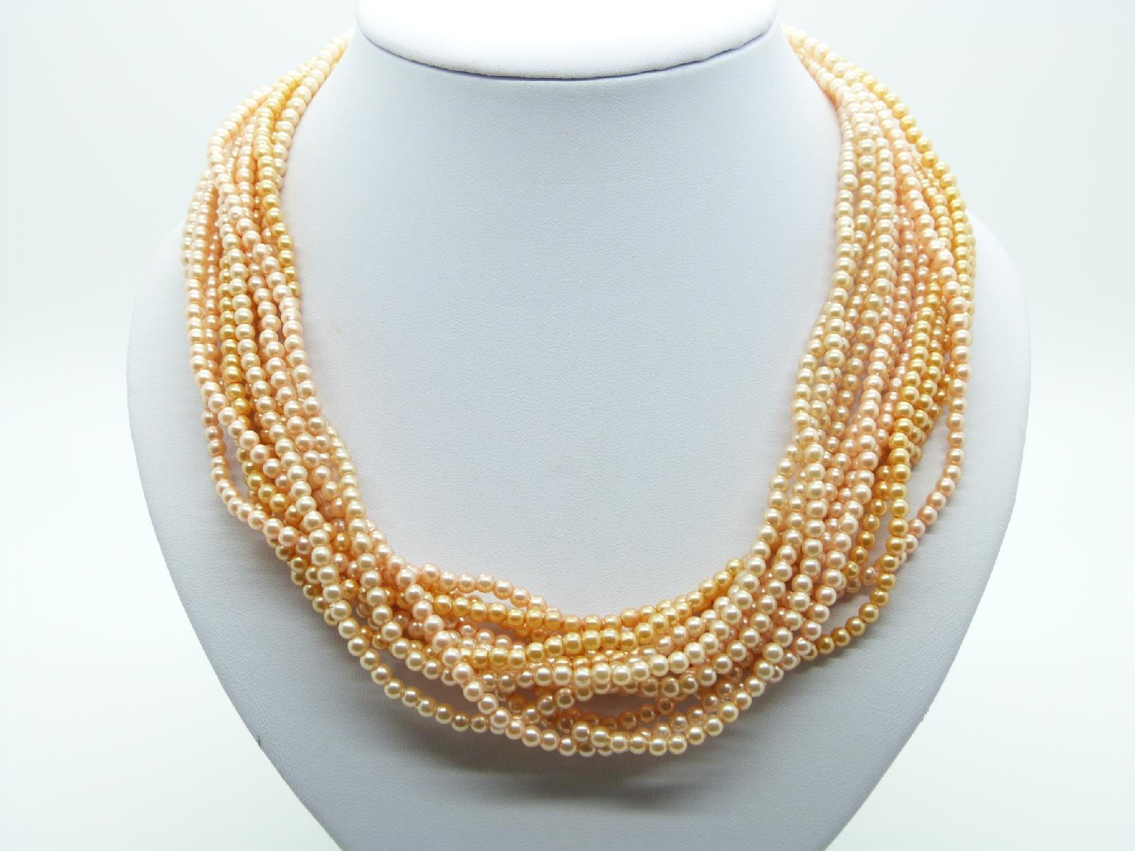 Vintage 50s Multi Strand Shades of Orange Faux Pearl Plastic Bead Necklace