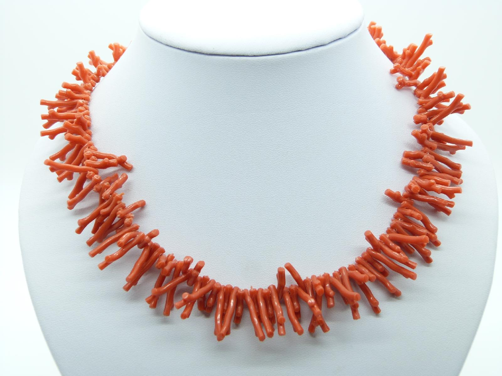 Vintage Art Deco 30s Simulated Branch Orange Coral Twig Plastic Necklace