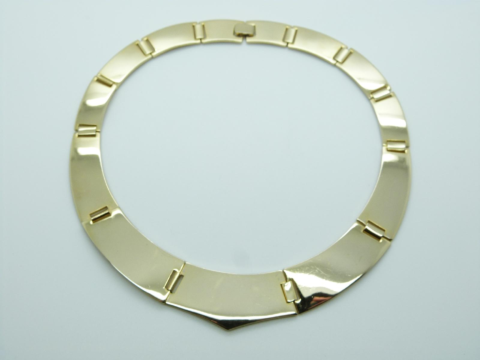 Vintage 80s Highly Polished Goldtone Collar Statement Necklace Amazing!