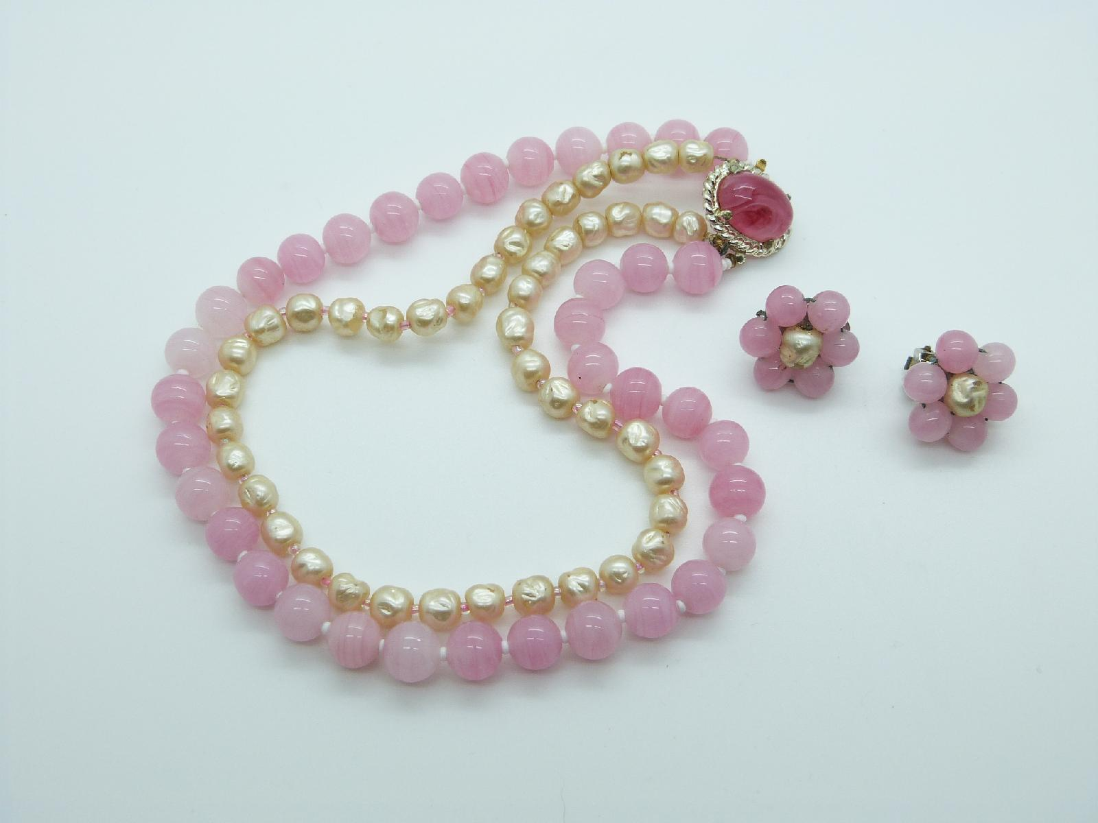 Vintage 50s Two Row Pink Glass and  Faux Pearl Bead Necklace and Earrings