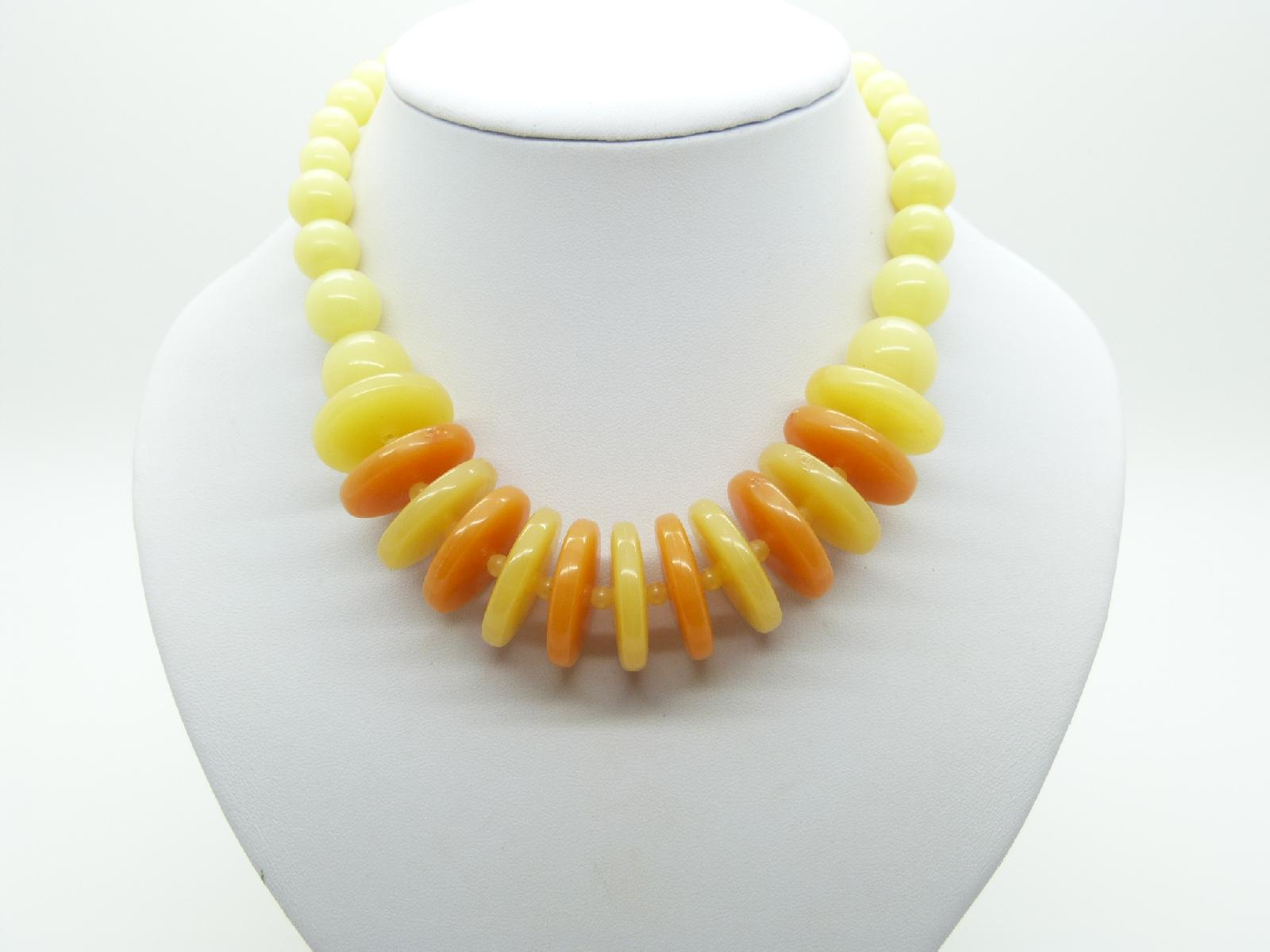 Vintage 60s Juicy Orange and Lemon Lucite Disc Bead Necklace Unique