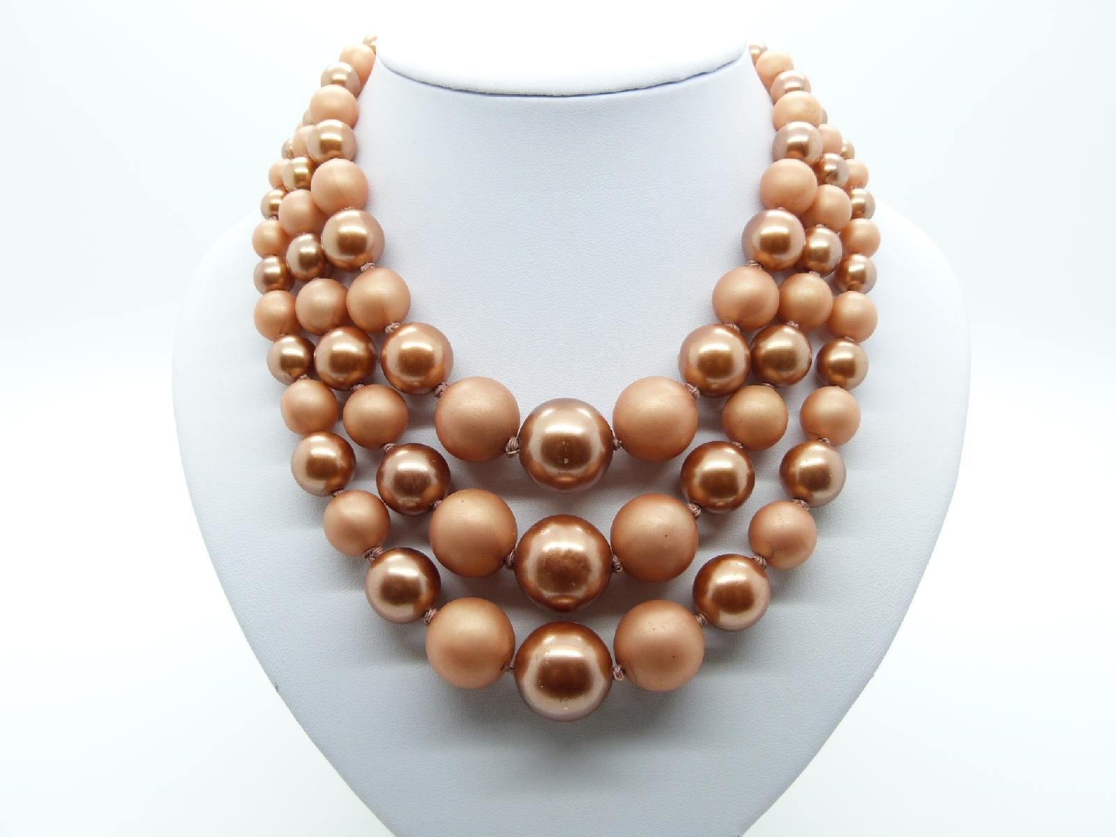 Vintage 50s Three Row Chunky Bronze Pink Lucite Pearl Bead Necklace Fab