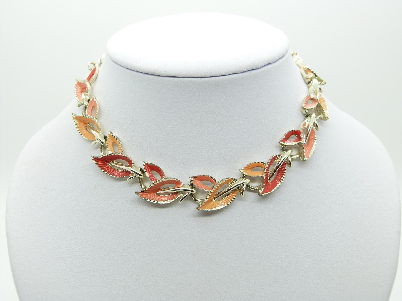 Vintage 50s Signed Jewelcraft Two Tone Orange Enamel Fancy Link Necklace