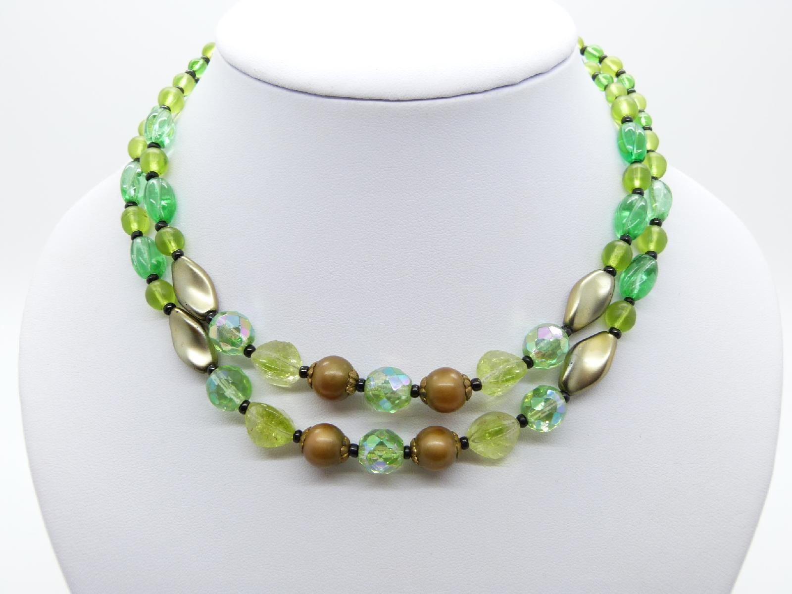 £10.00 - Vintage 50s Pretty Two Row Green and Brown Glass Bead Necklace