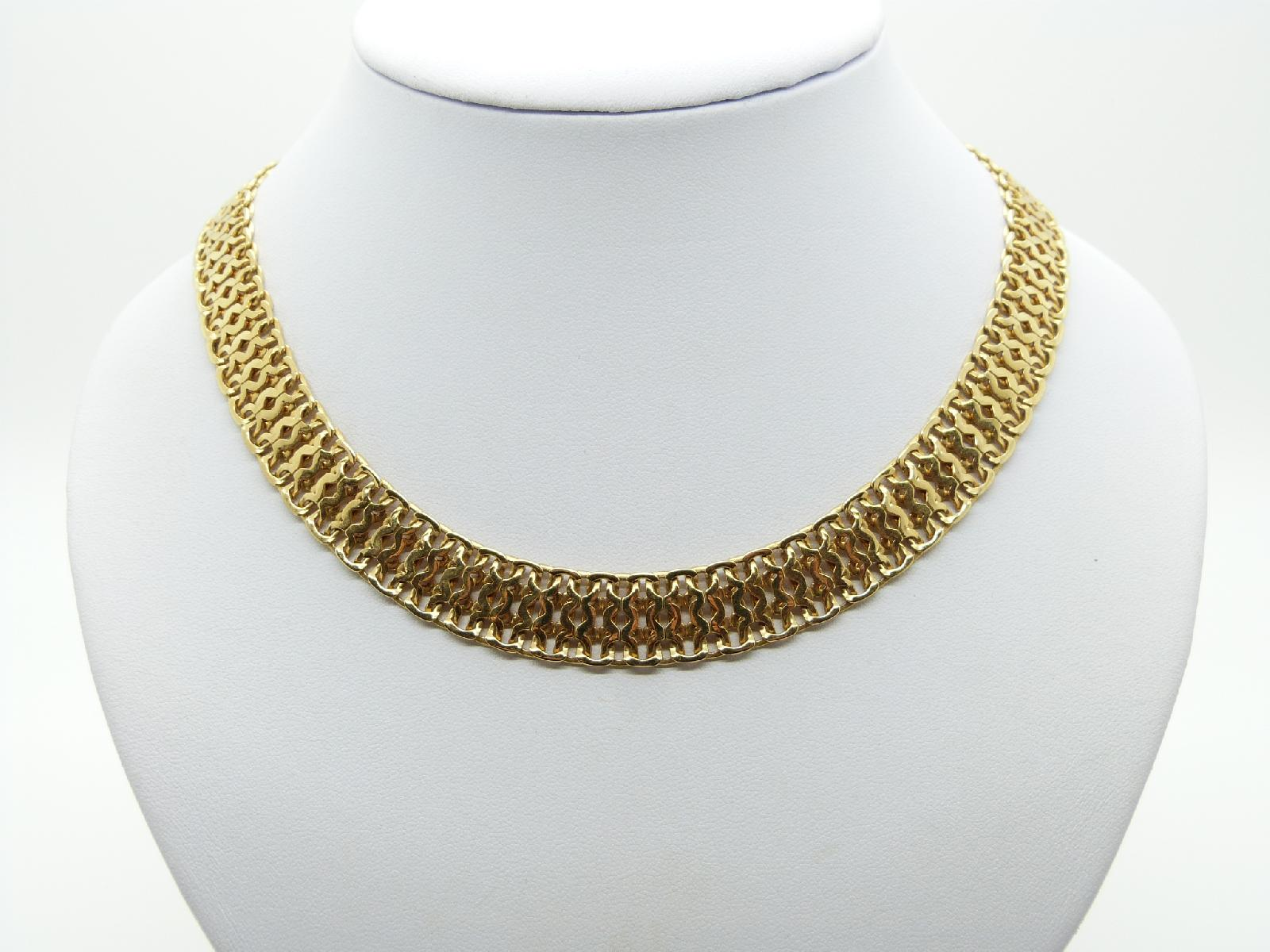 Vintage 80s Signed Monet Fancy Gold Plated Articulated Link Collar Necklace