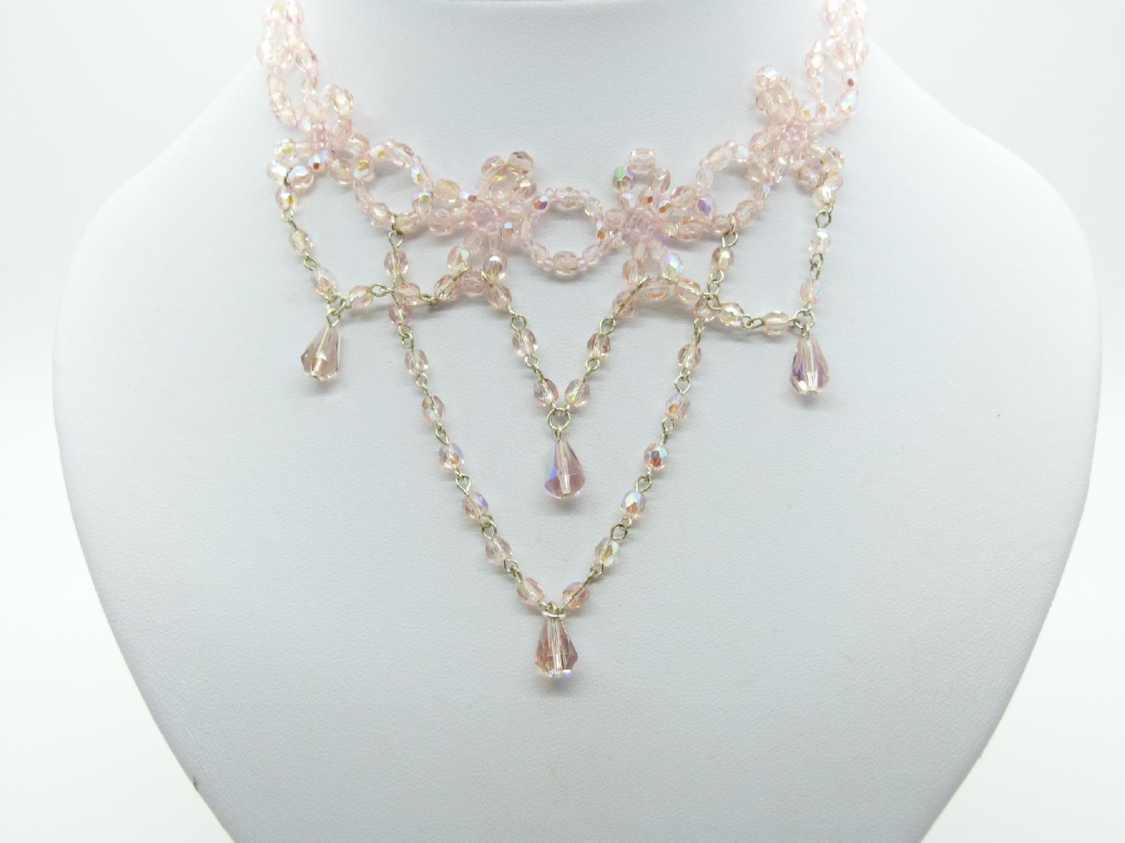 £10.00 - Vintage Style Pretty Pink AB Glass Bead Festoon Drop Choker Necklace