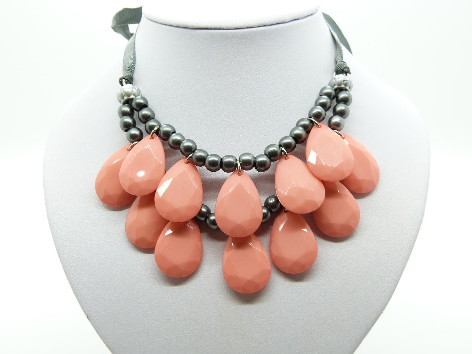 Stunning Orange and Grey Bead Double Row Dropper Necklace Grey Ribbon Tie