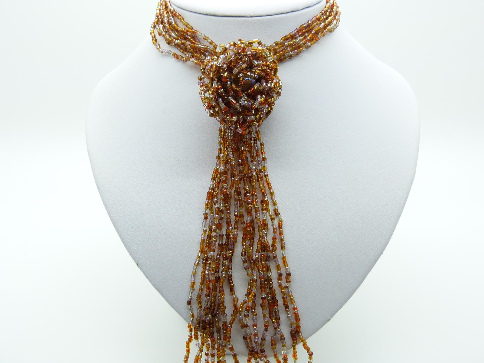 Fab Long Multi Strand Gold and Clear Glass Seed Bead Flower Tassel Necklace