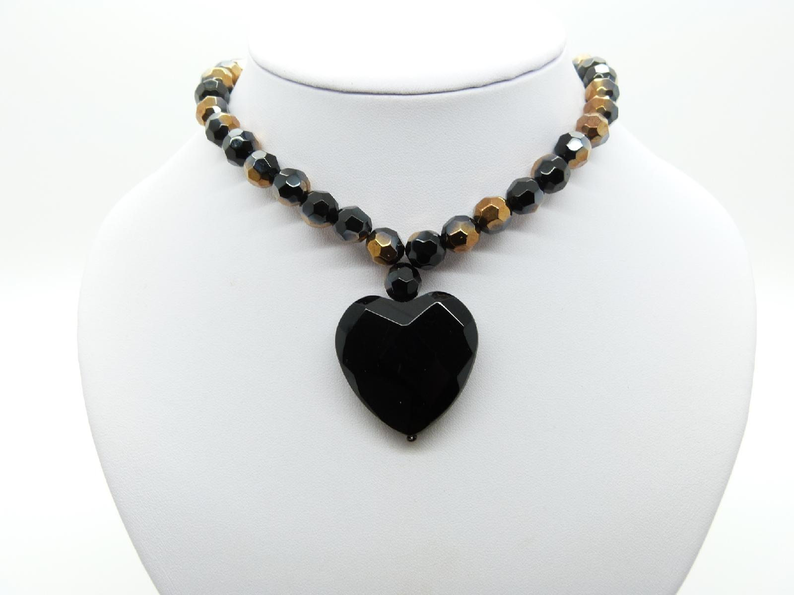 £25.00 - Fab Black and Bronze Hombre Glass Bead Necklace with Large Heart Pendant
