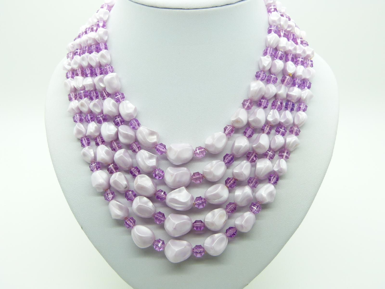 £24.00 - Vintage 50s Amazing Five Row Lilac Pink Textured Lucite Bead Necklace Mint!