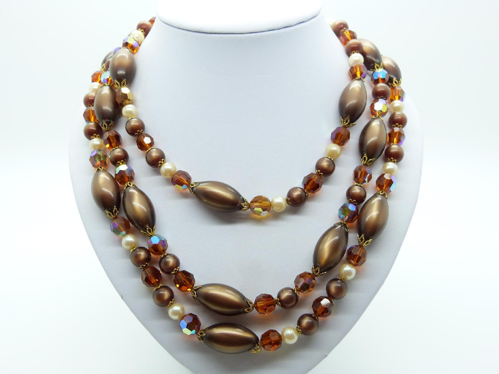 Vintage 50s Three Row Brown Moonglow and AB Crystal Glass Bead Necklace