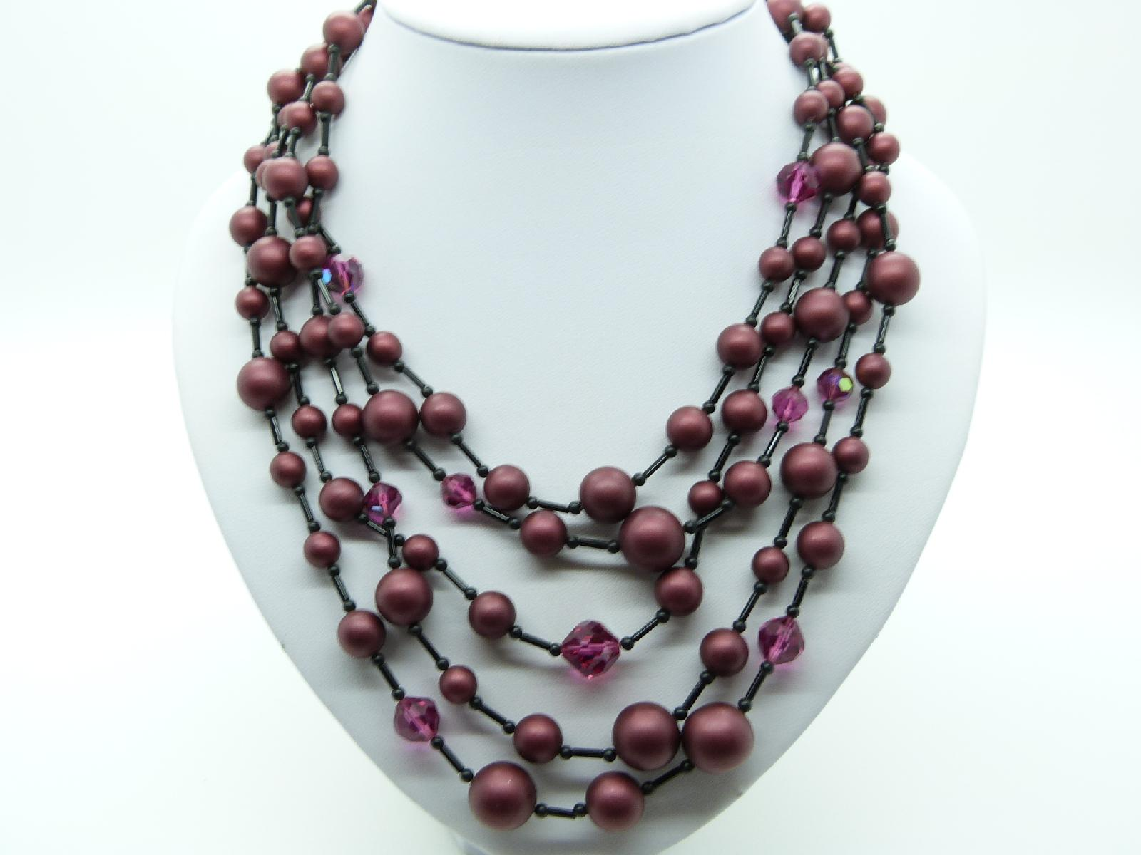 Vintage 50s Five Row Maroon Red Black and AB Pink Glass Bead Necklace