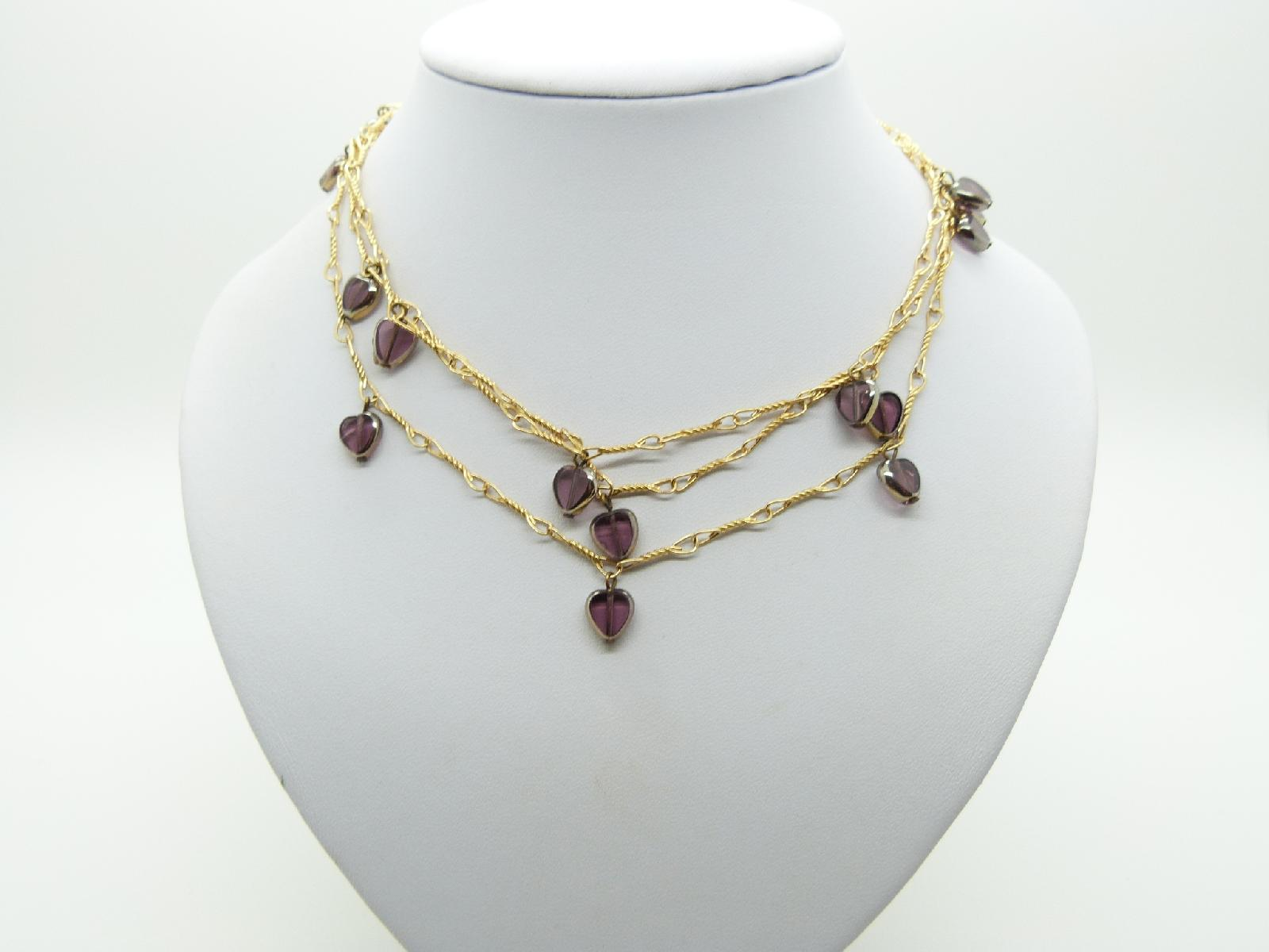 Vintage 80s Long Gold Twist Necklace with Cute Purple Glass Heart Charms