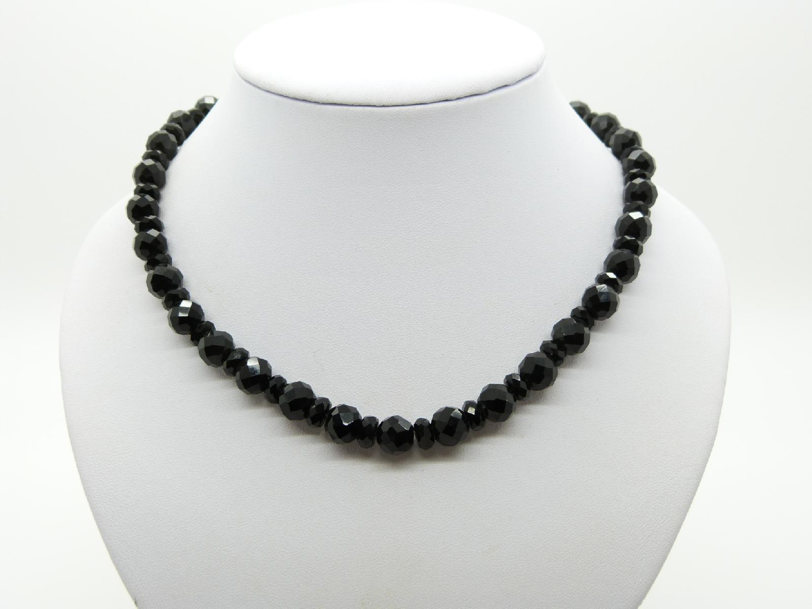 Fabulous and Stylish Black Crystal Glass Bead Faceted Necklace