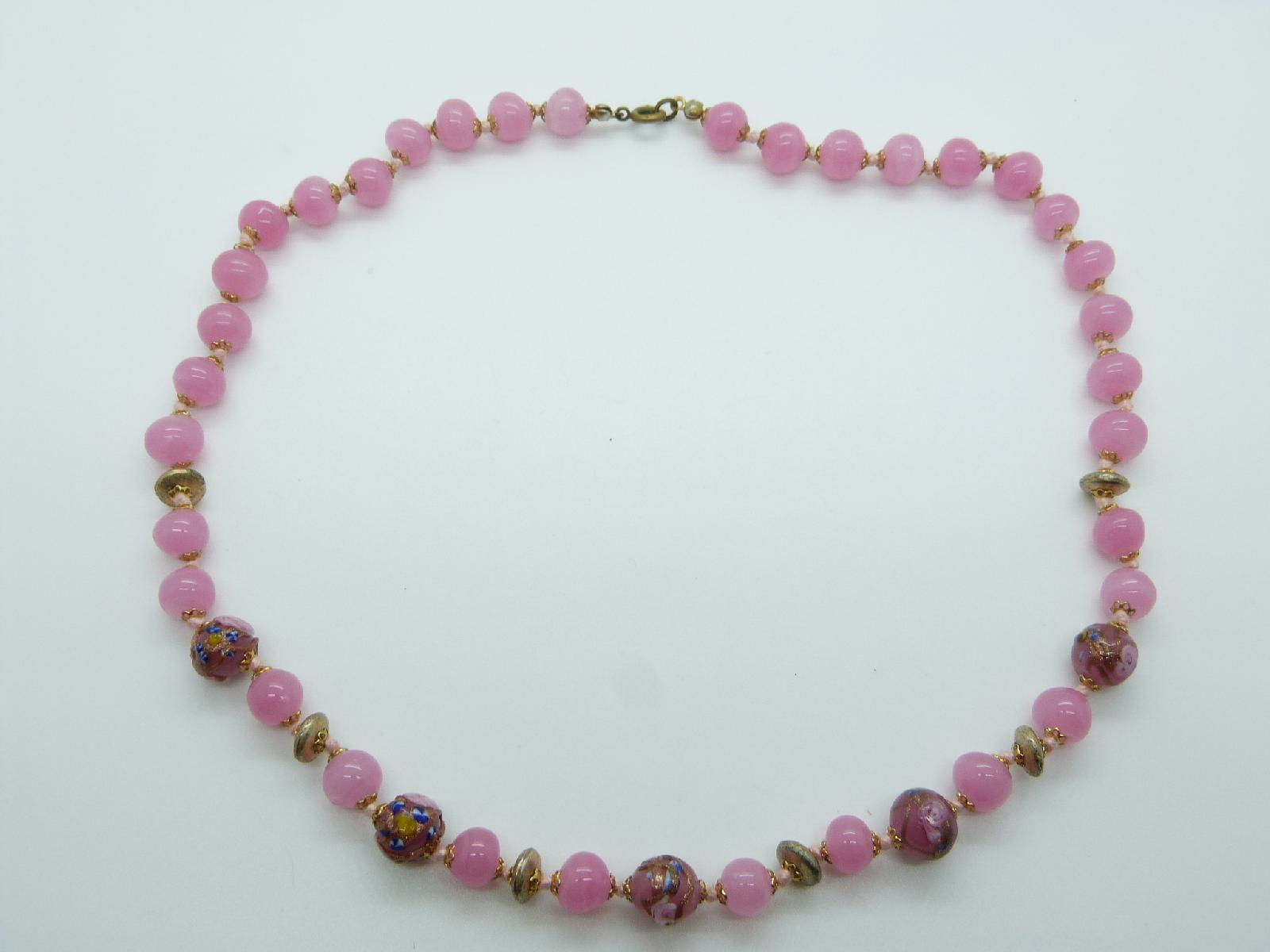 Vintage 30s Pink Glass and Pink Wedding Cake Murano Flower Bead Necklace