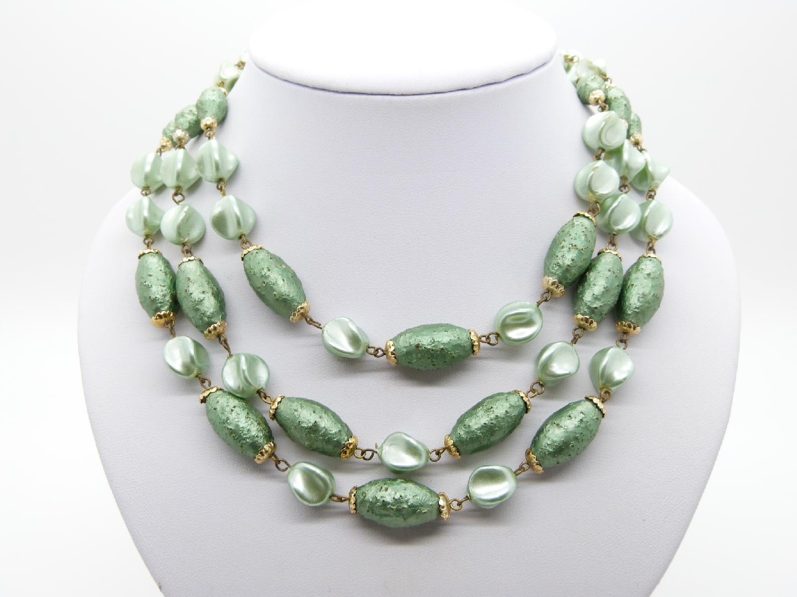 Vintage 50s Fab Three Row Two Tone Green Textured Lucite Bead Necklace