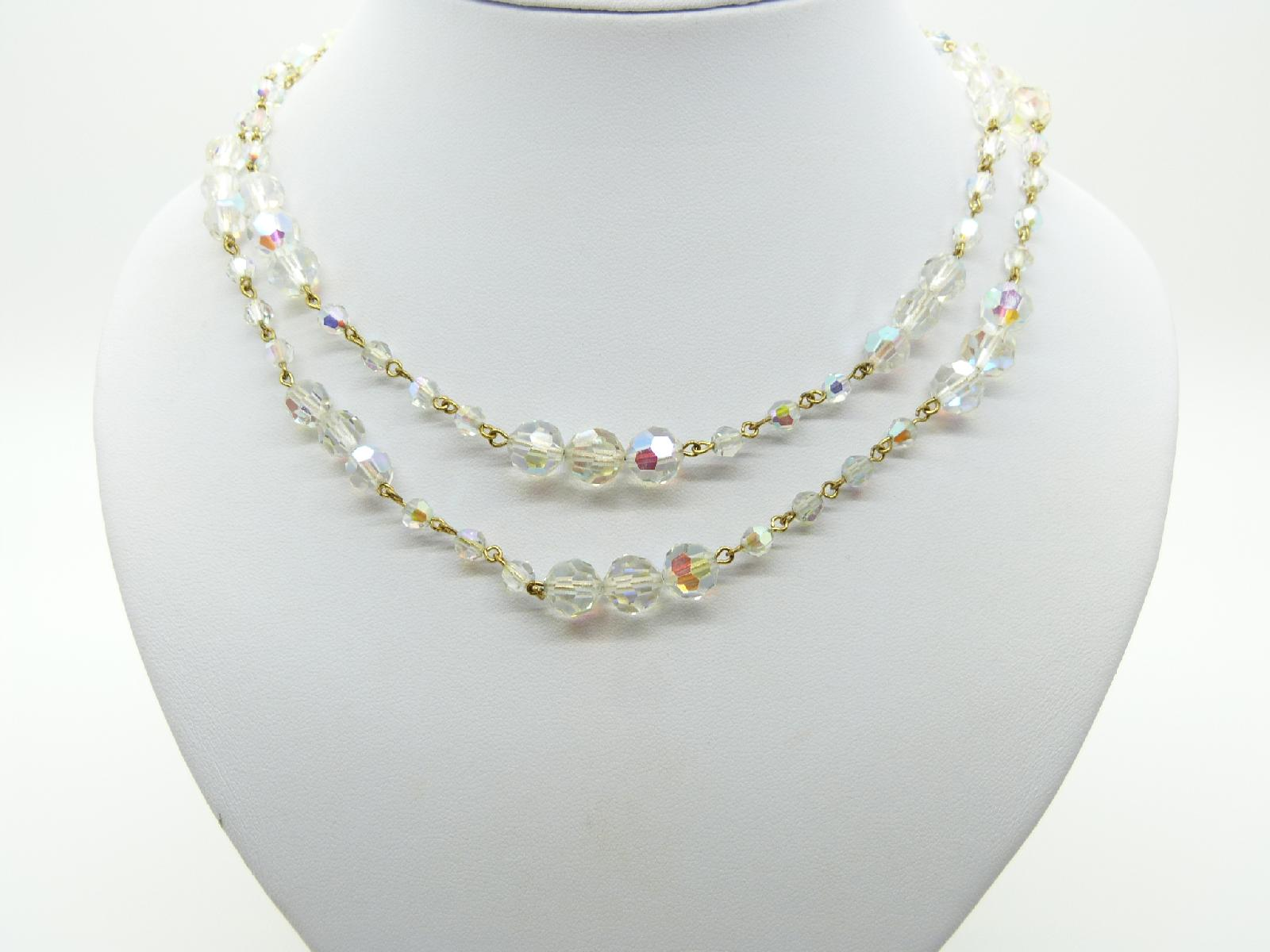 Vintage 30s Long AB Crystal Glass Bead Flapper Necklace Diamante Clasp