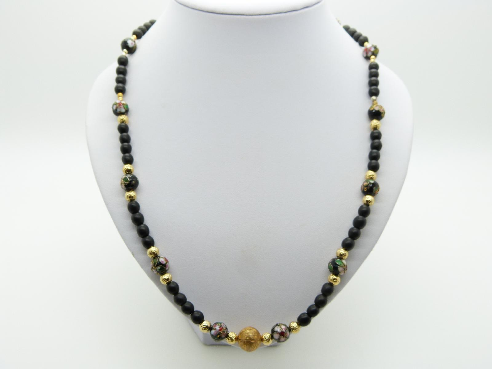 Vintage 80s Fab Black Glass Bead Gold and Cloisonne Flower Necklace