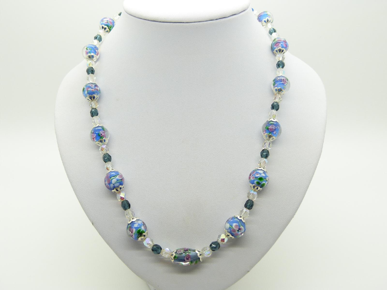 £22.00 - Vintage Redesigned Blue Flower Murano Glass and Crystal Bead Necklace