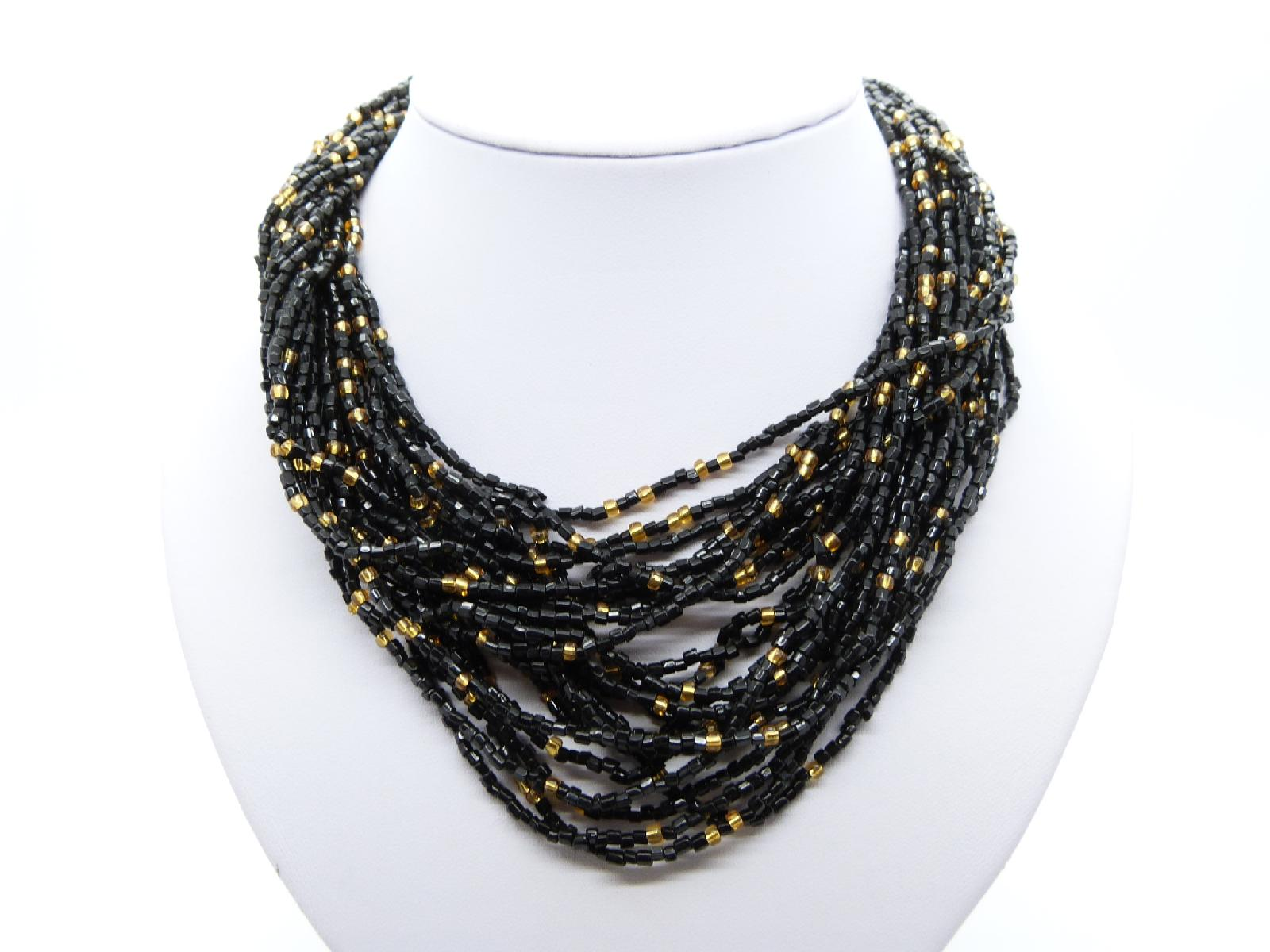 Vintage 50s Fab Black and Gold Seed Glass Bead Multi Strand Twist Necklace
