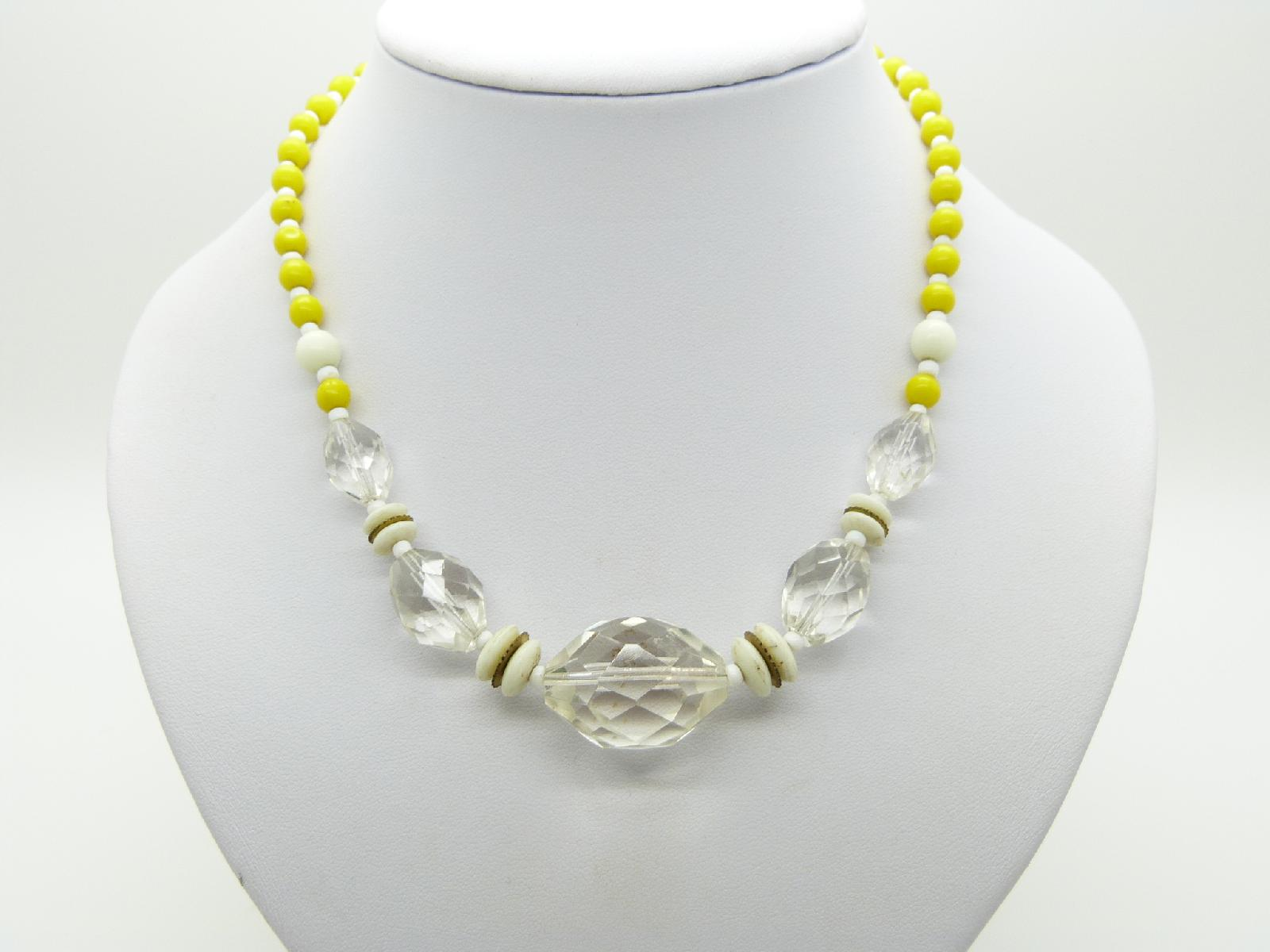 Vintage 50s Yellow White and Crystal Glass Bead Czech Necklace Diamante Clasp