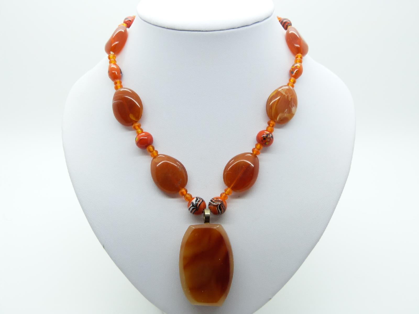 Vintage 70s Orange Murano Glsss and Amber Lucite Bead Pendant Necklace