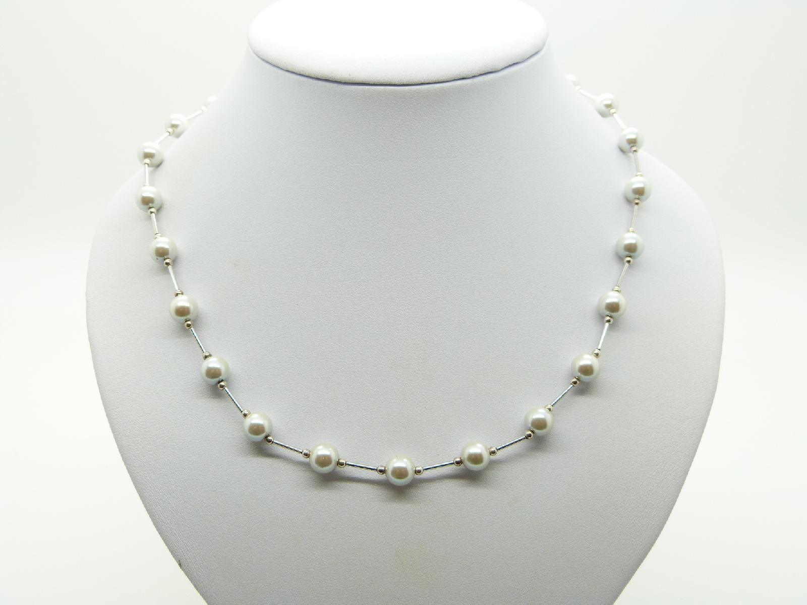 CHi-Ki Glass Faux Pearl Bead Magnetic Therapy Necklace New with Tag!
