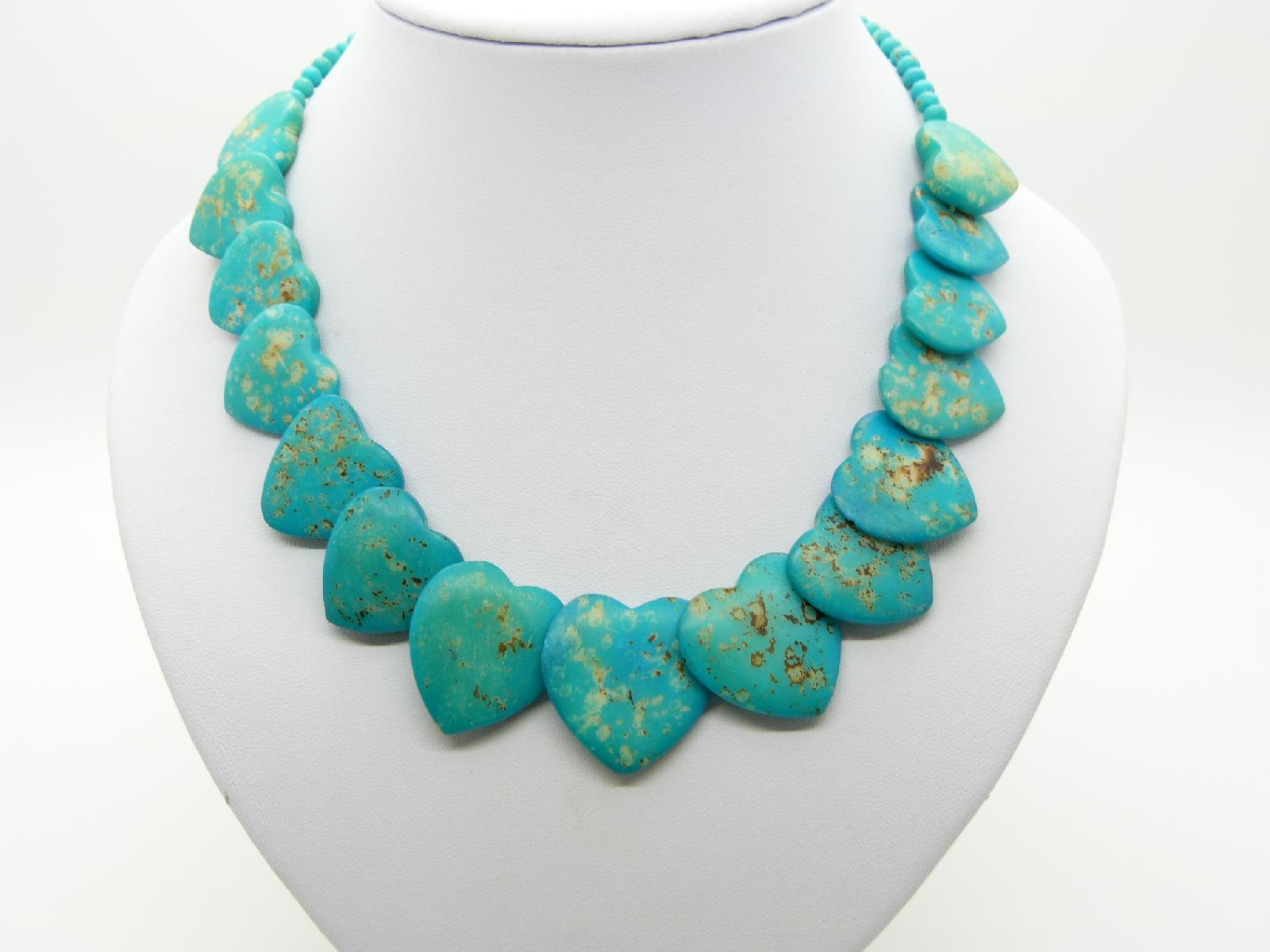 Fab Imperial Turquoise Jasper Faceted Stone Heart Shaped Bead Necklace