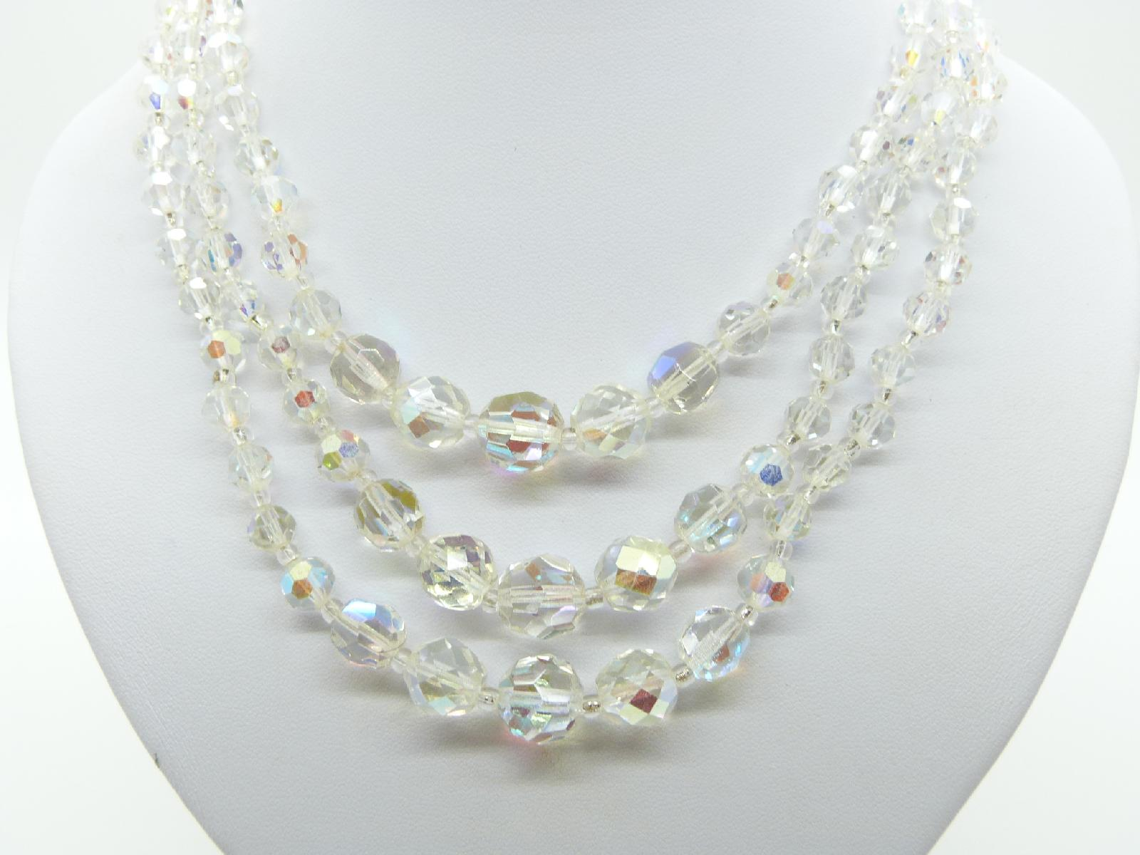 £35.00 - Vintage 50s Sparkling Three Row AB Crystal Glass Bead Necklace Fab!