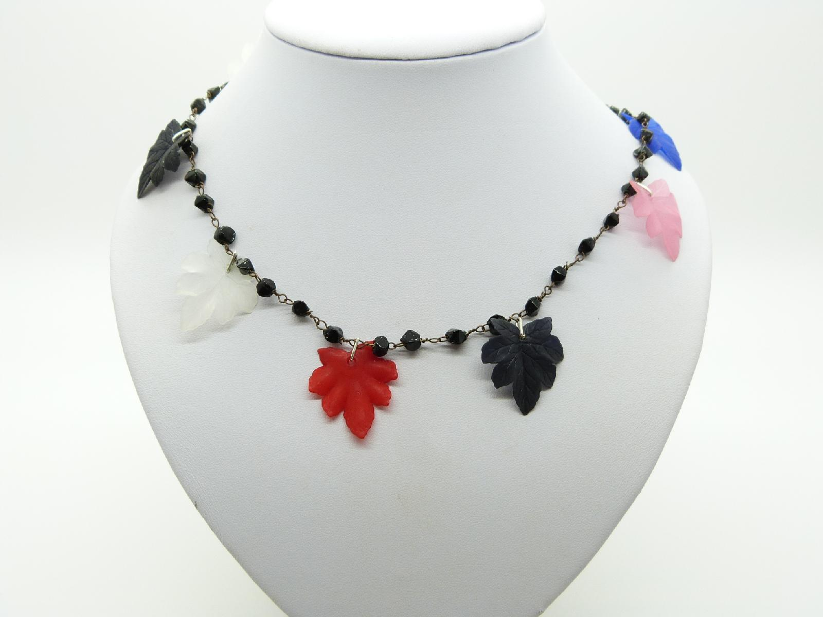 Vintage 70s Fab Black Bead with Multicoloured Leaf Shaped Charms Necklace