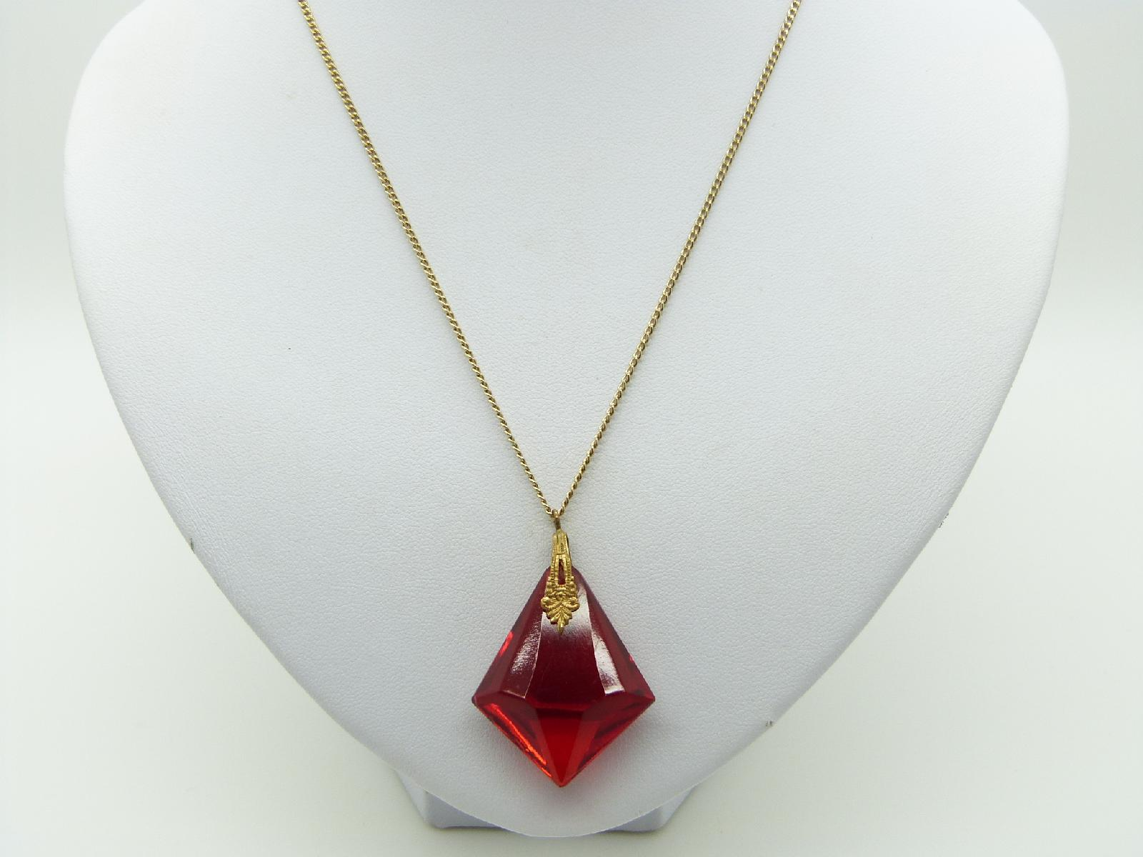 £23.00 - Vintage 30s Pretty Red Czech Crystal Glass Drop Pendant and Chain 45cms