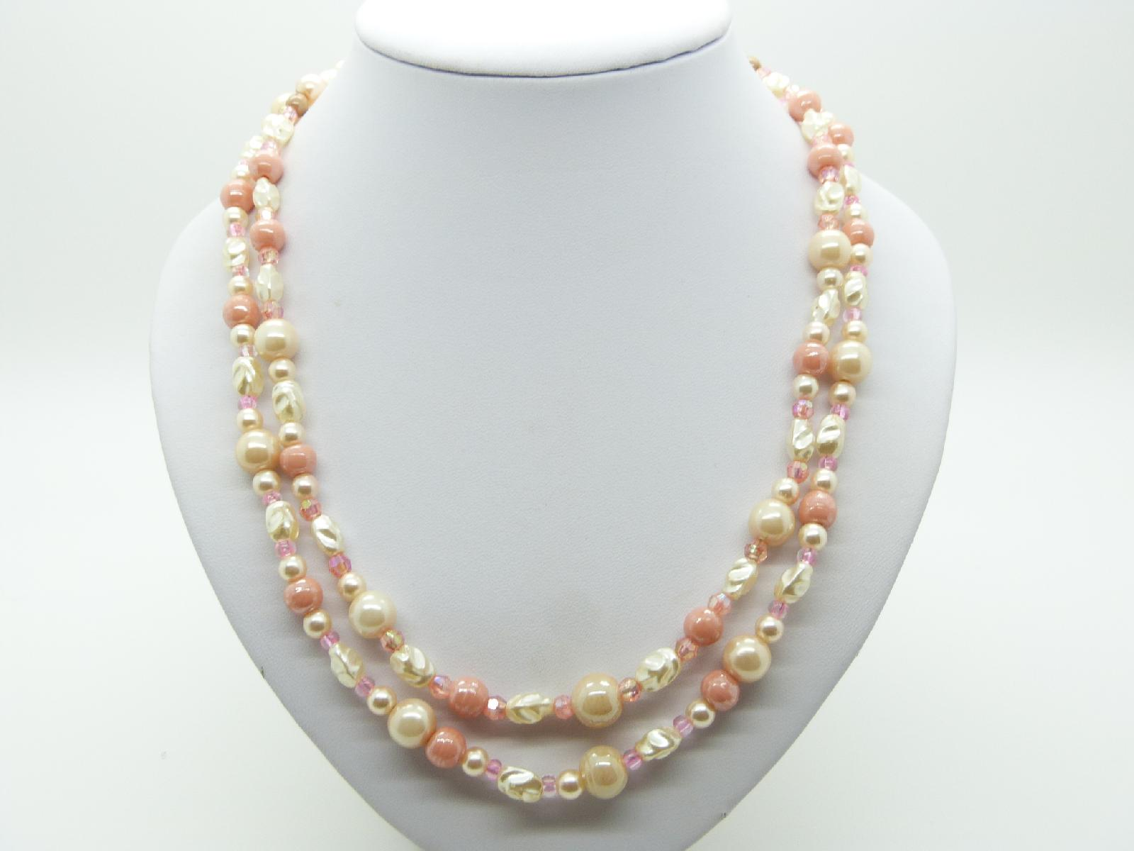 £17.00 - Vintage 50s Two Row Pink and White Glass and Lucite Bead Necklace 57cms