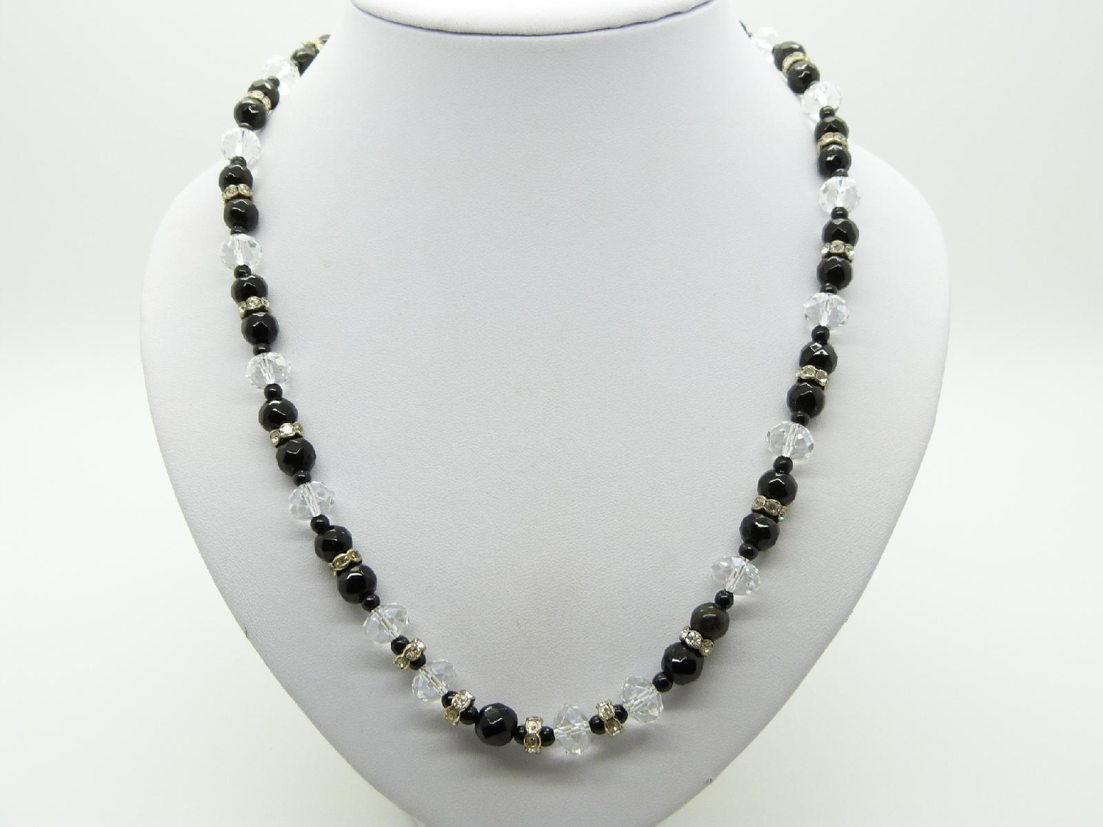Vintage 50s Black and White Crystal Bead Necklace with Diamantes 58cms