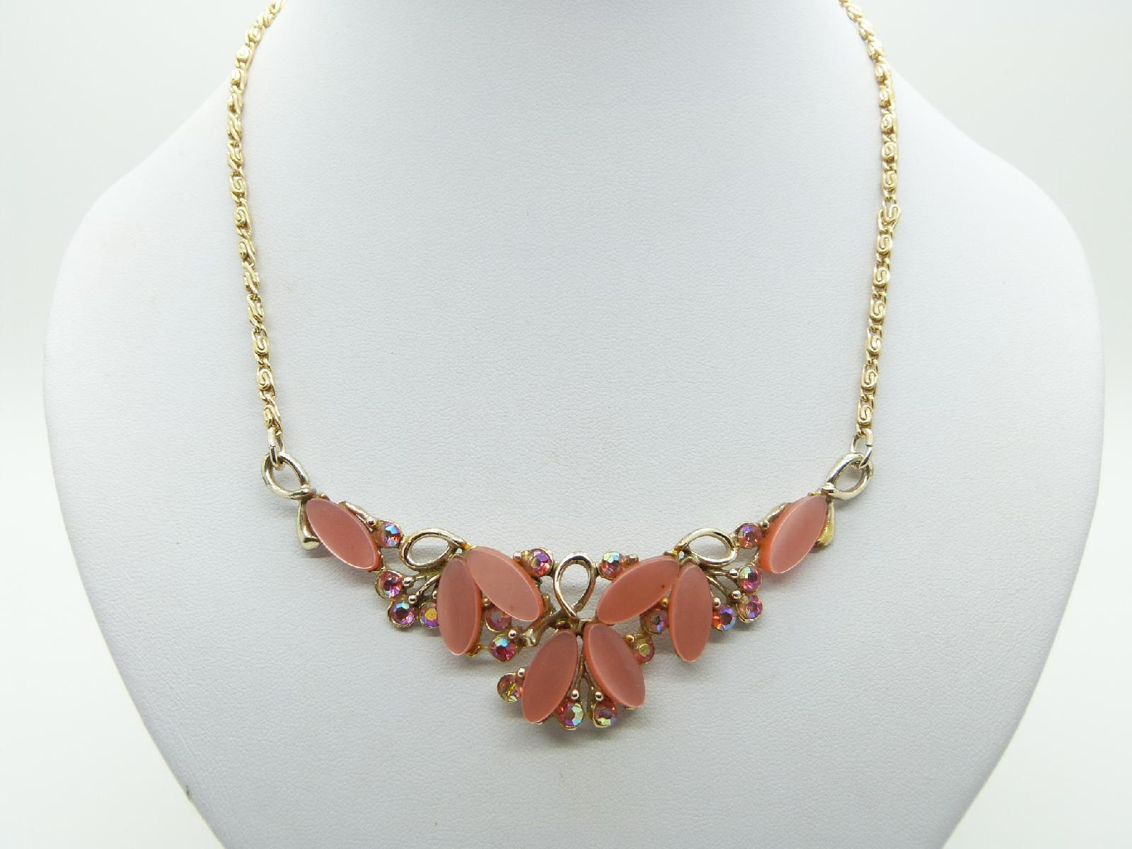 Vintage 50s Pretty Orange Lucite Moonglow and AB Diamante Necklace 44cms