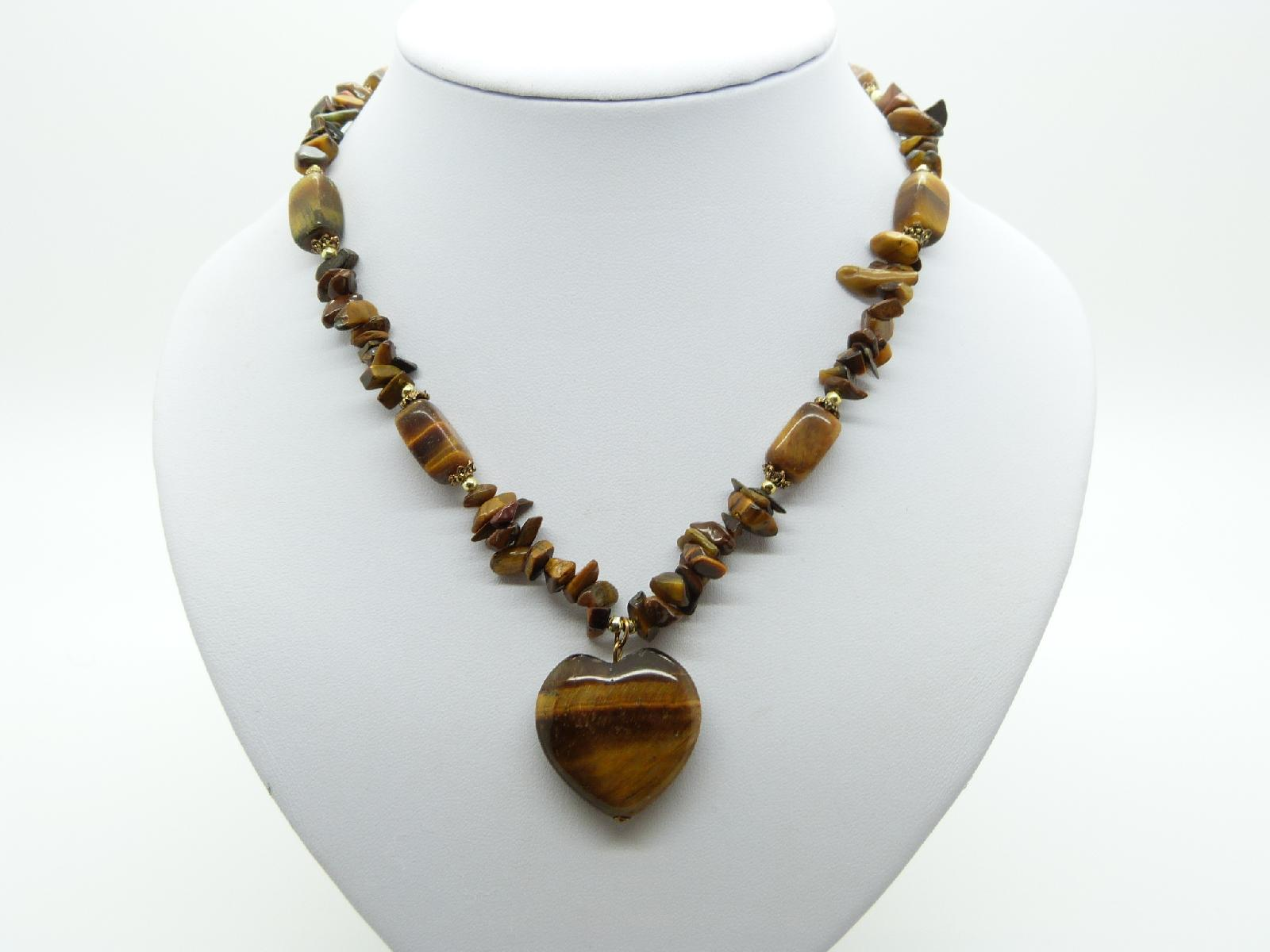 Lovely Real Tigers Eye Bead Necklace with Tigers Eye Heart Pendant 50cms