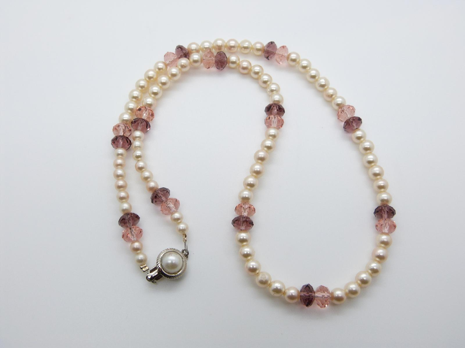 £12.00 - Vintage 80s Faux Pearl and Purple and Pink Crystal Glass Bead Necklace