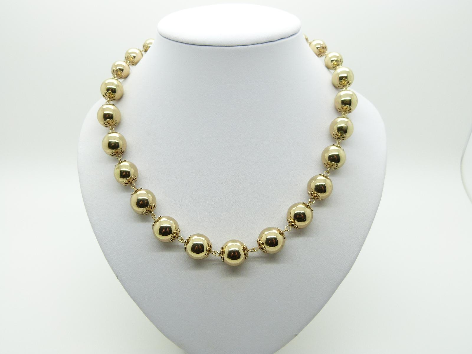 £13.00 - Vintage 50s Attractive Gold Metal Bauble Bead Necklace 51cms