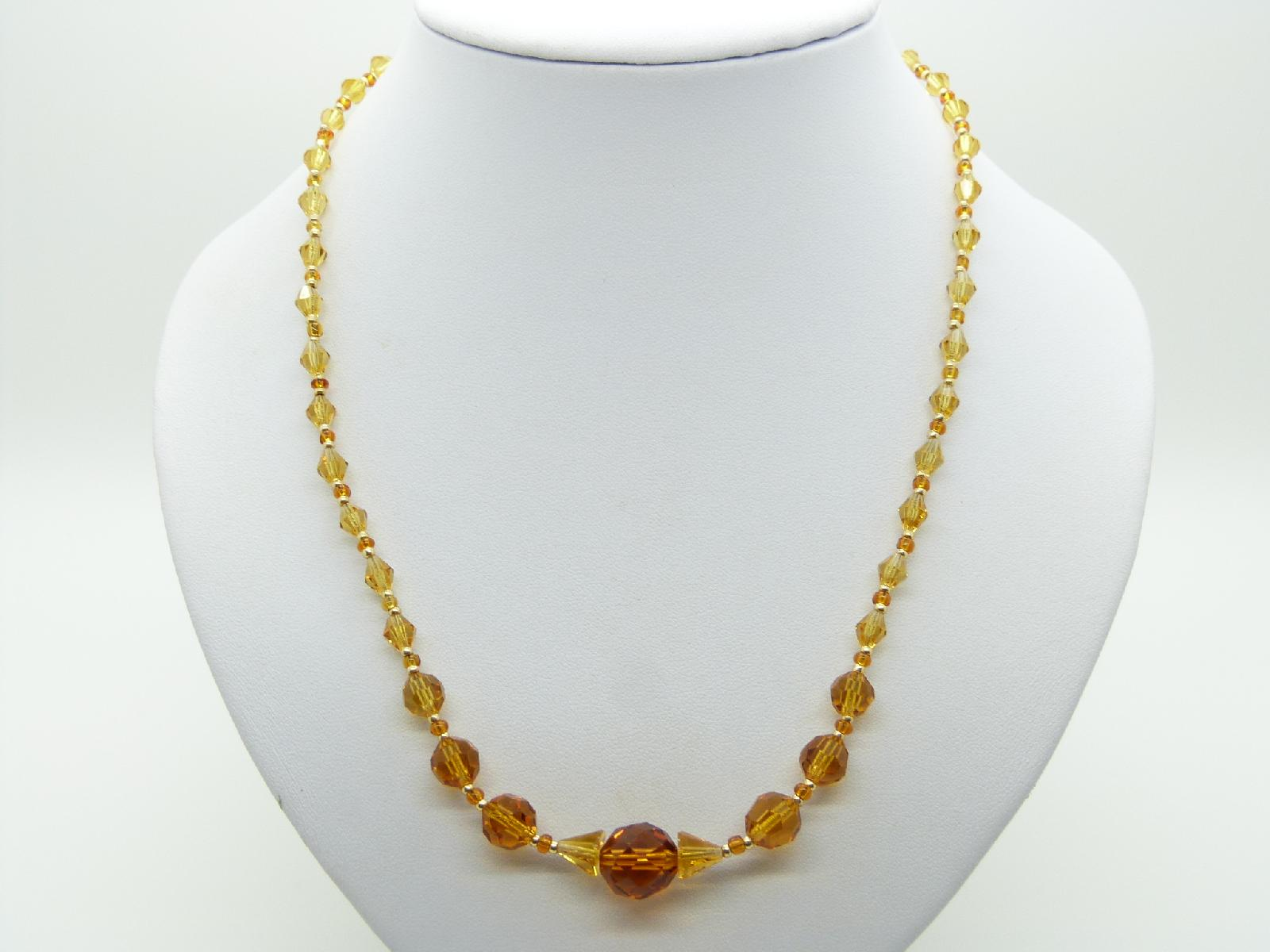 Vintage 30s Pretty Citrine Coloured Crystal Glass Bead Necklace 52cms