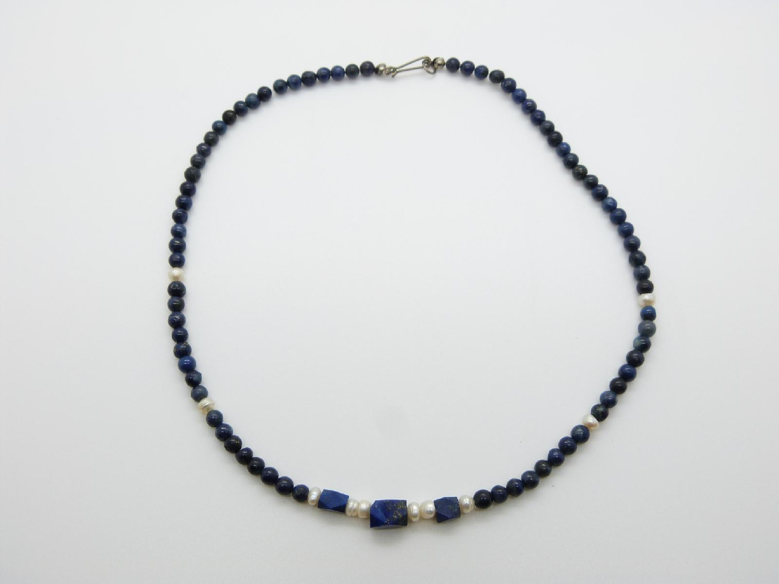 £13.00 - Pretty and Feminine Blue Lapis Bead and Freshwater Pearl Necklace 43cms