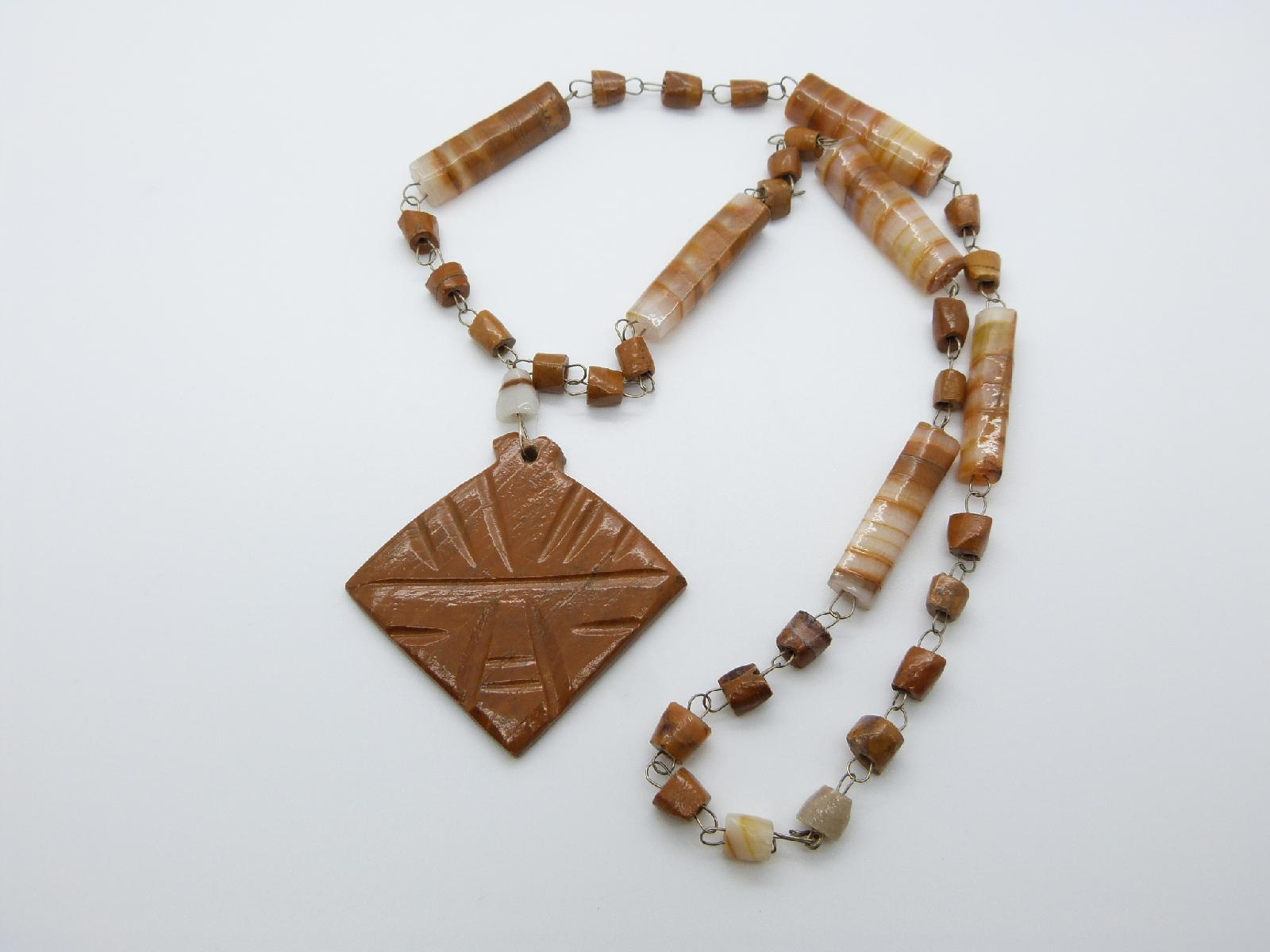 Vitntage 70s Real Brown Banded Agate Bead Necklace with Large Pendant