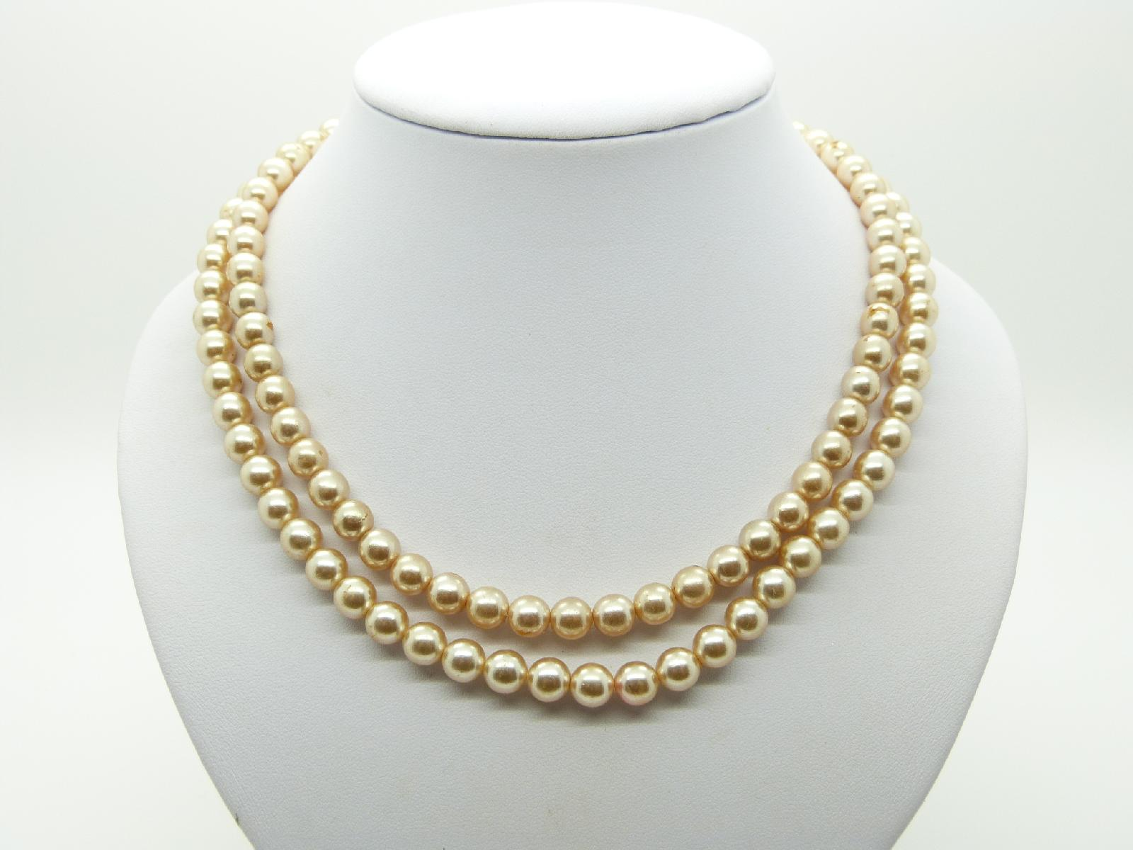Vintage 50s Classy Two Row Glass Faux Pearl Bead Necklace 50cms