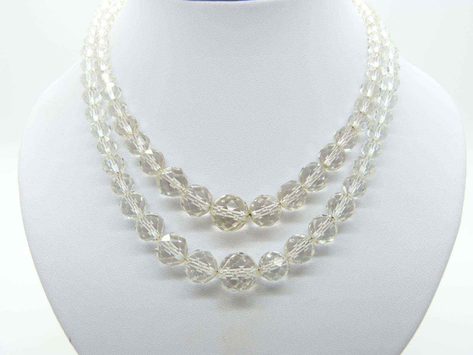 £30.00 - Vintage 30s Stunning Quality Two Row Crystal Glass Faceted Bead Necklace 47cms