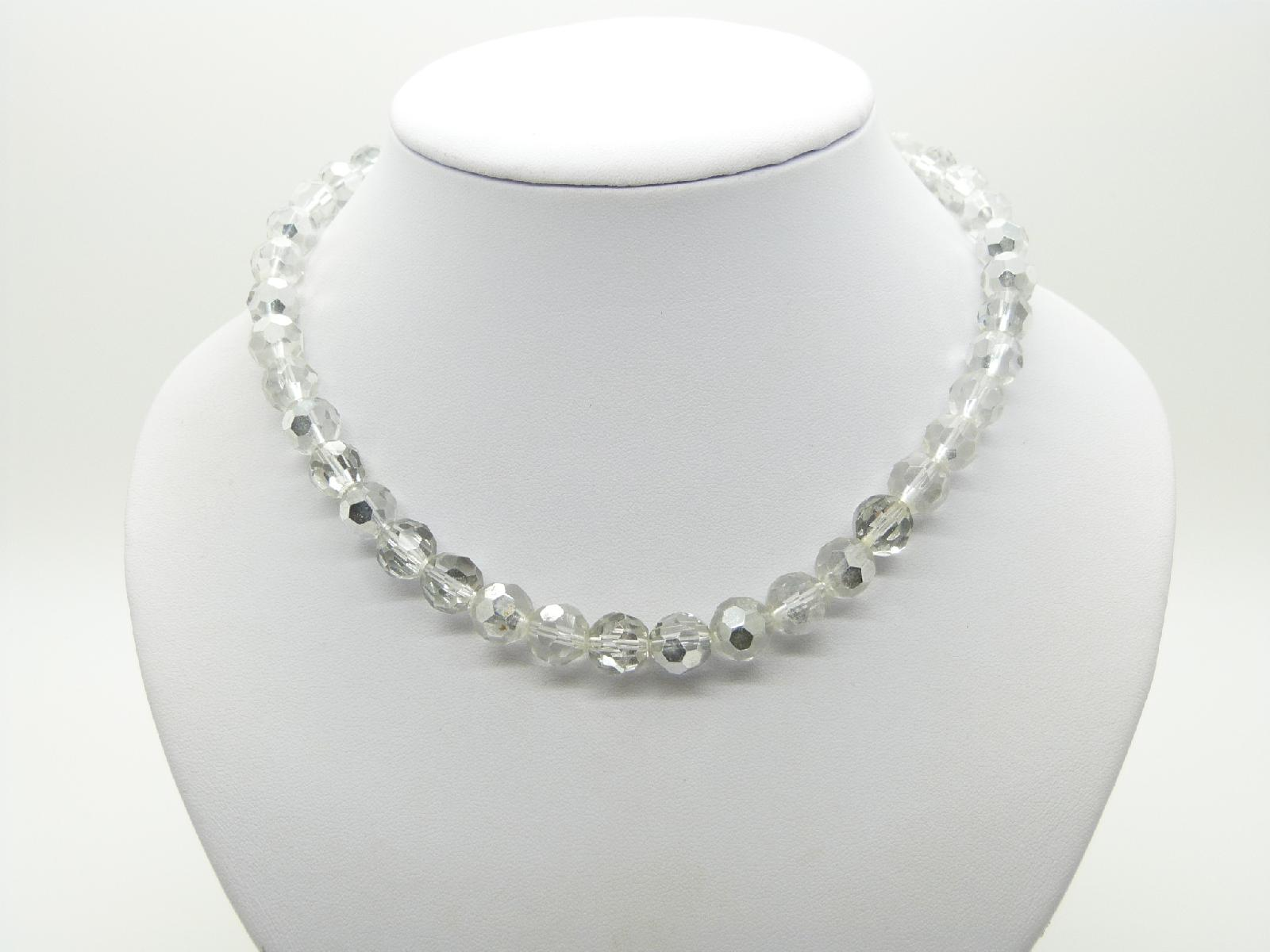Vintage 50s STYLE Two Tone Crystal and Silver Glass Bead Necklace 44cms