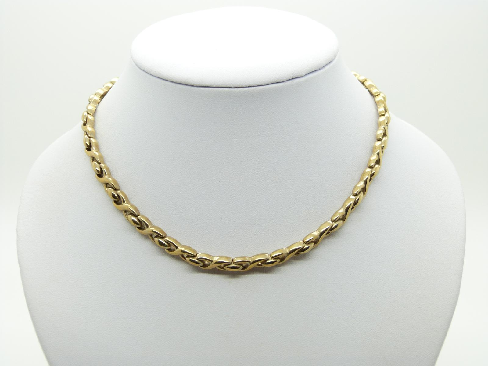 Gold Plated Stamped M&S Cross Link Style Choker Necklace 41cms