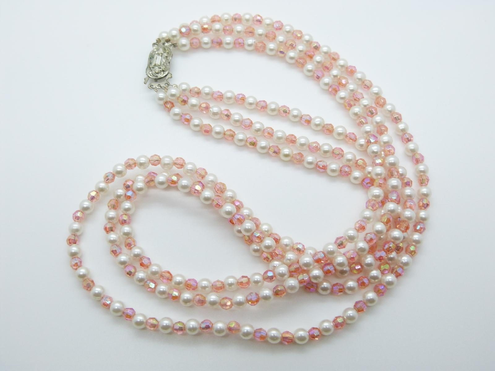 £8.00 - Vintage 50s Three Row Lucite Pink Bead and Plastic Pearl Necklace 66cms